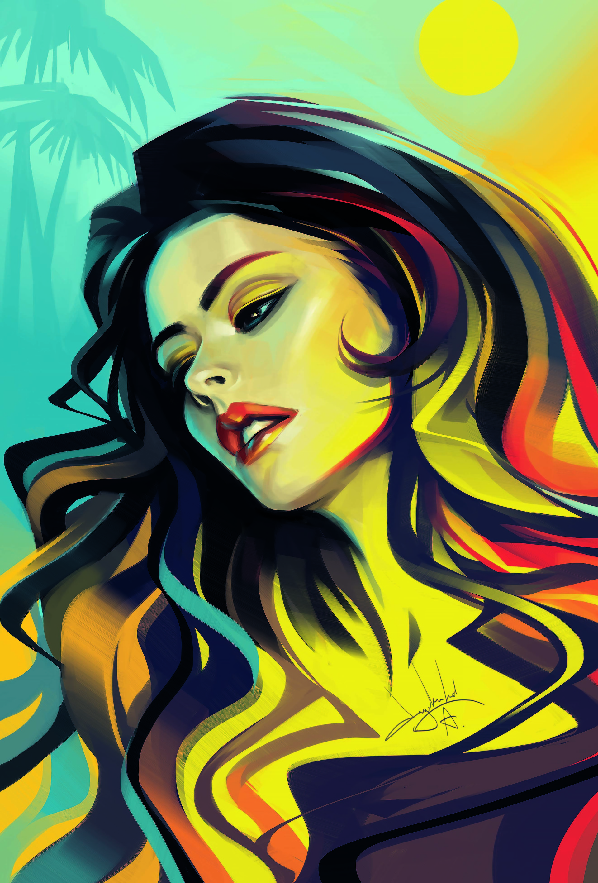 General 1920x2834 women long hair face red lipstick dark hair Sun portrait artwork ArtStation