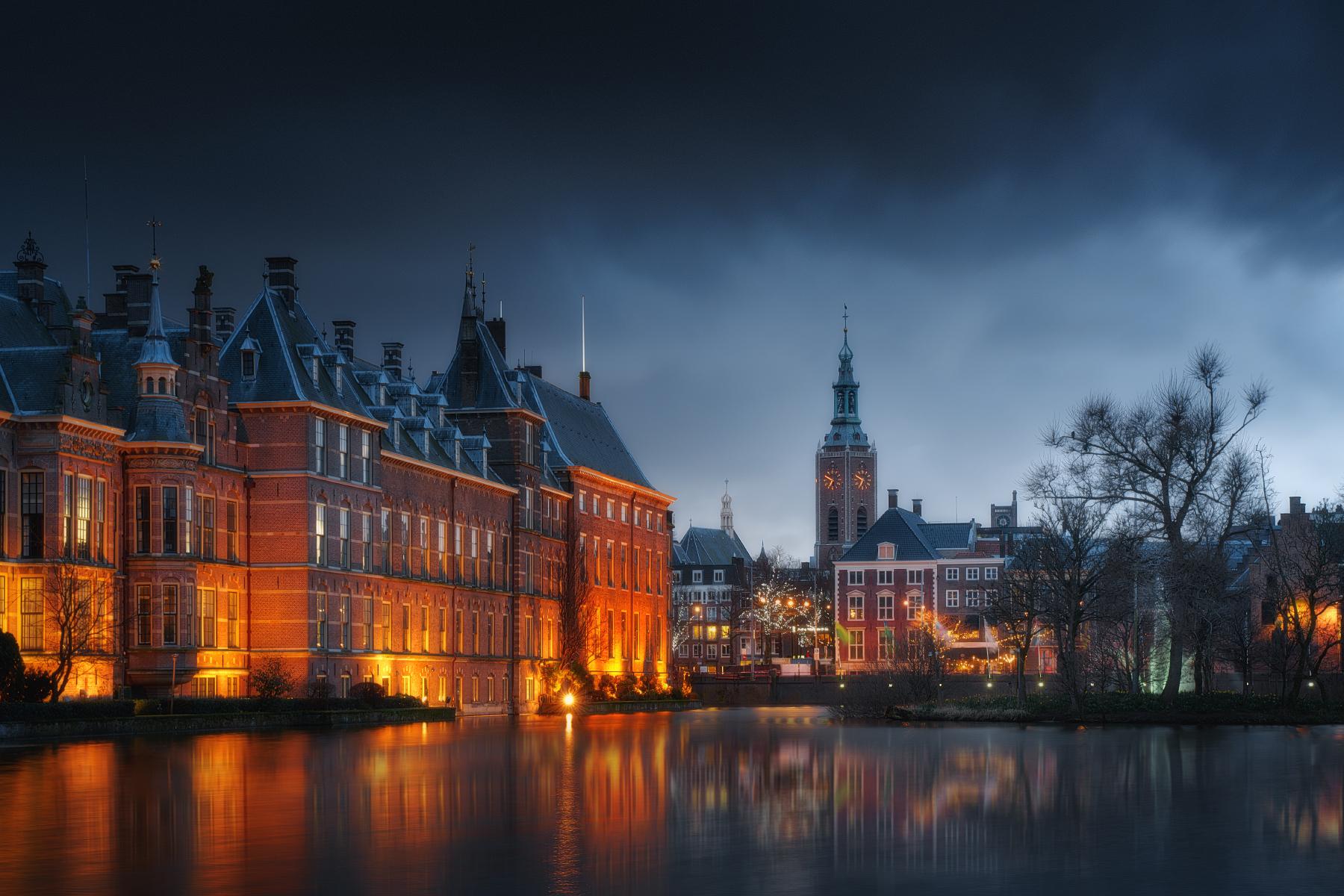 General 1800x1200 winter water city cityscape night lights reflection building trees overcast photography Amsterdam Ivan Kurmyshov