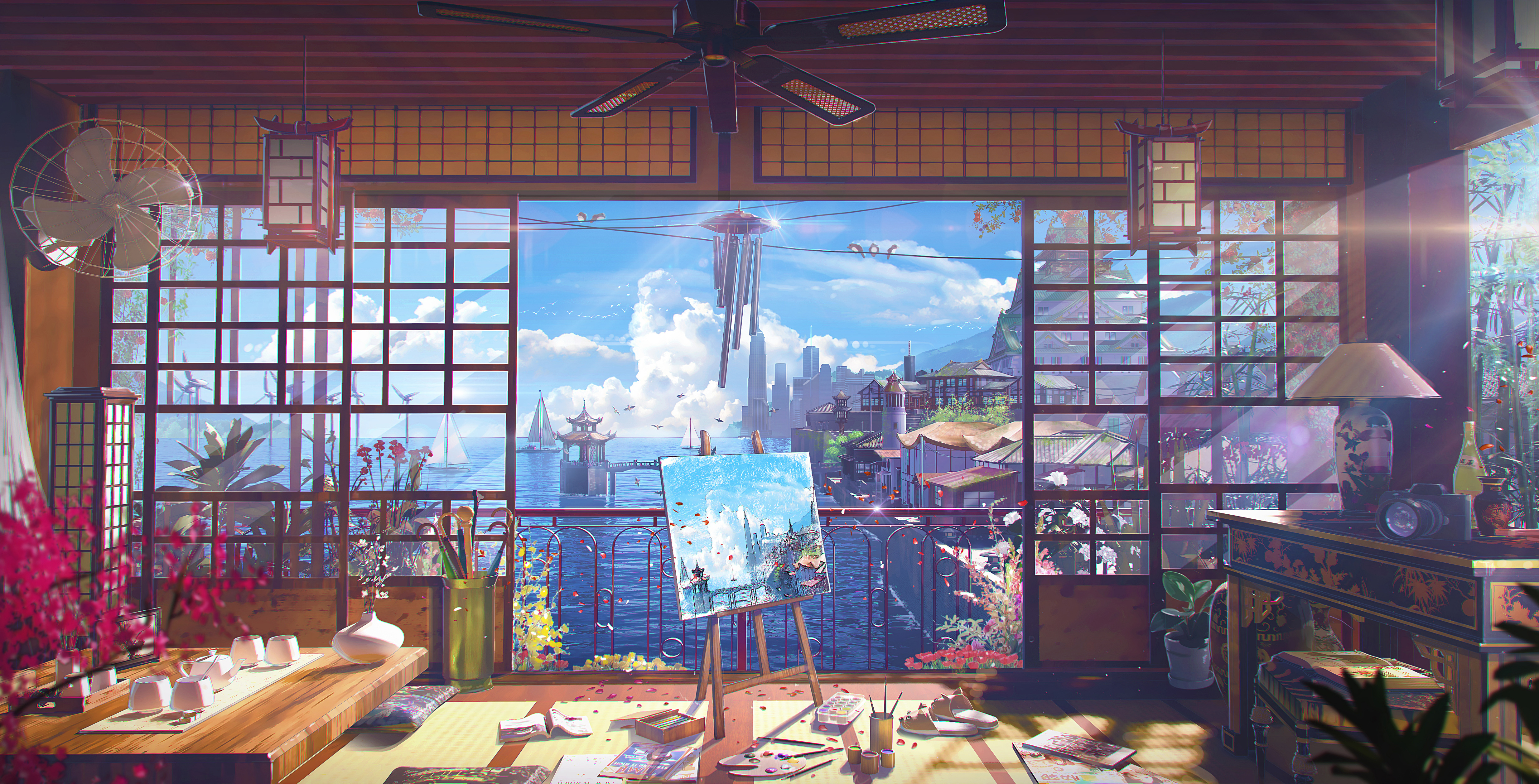 Anime 4936x2515 environment house sea clouds sky landscape lights High Noon