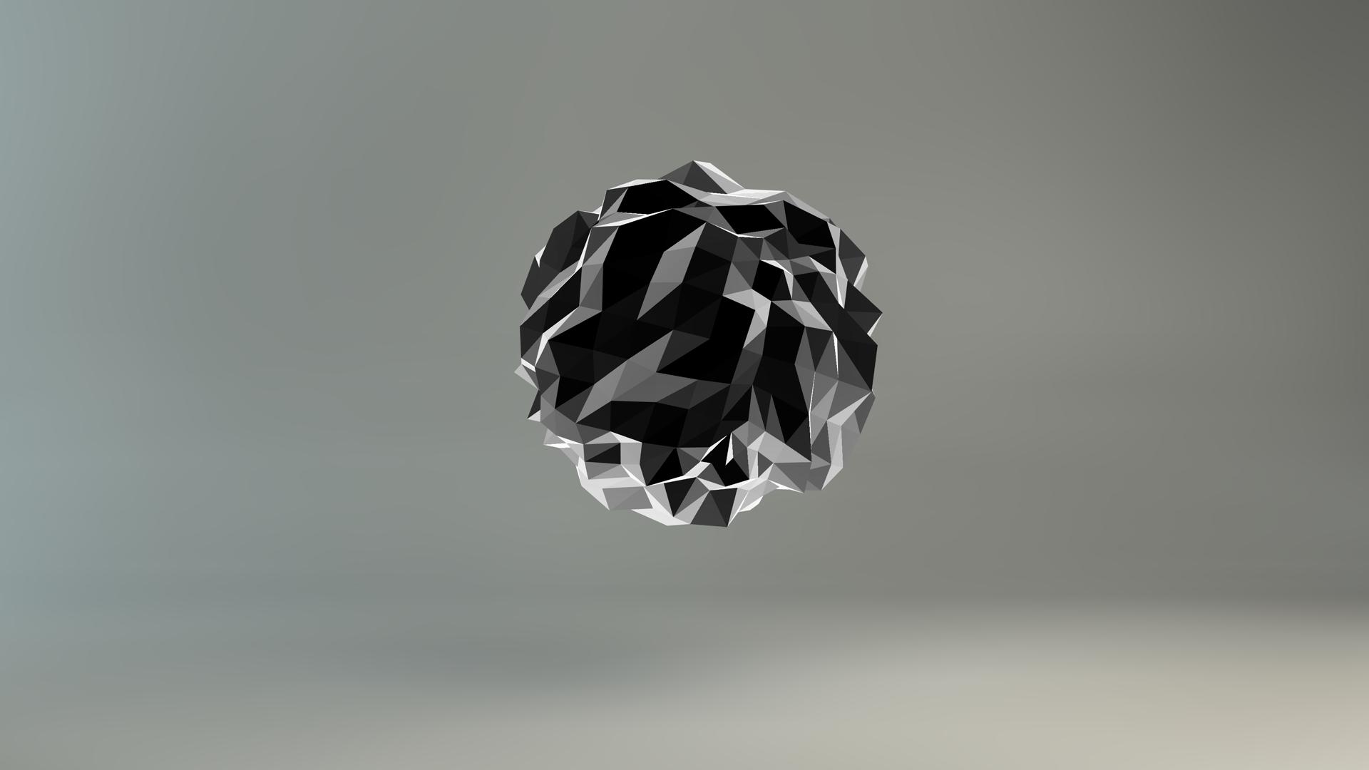 General 1920x1080 digital art minimalism gray background sphere low poly 3D geometry monochrome gradient abstract artwork render CGI
