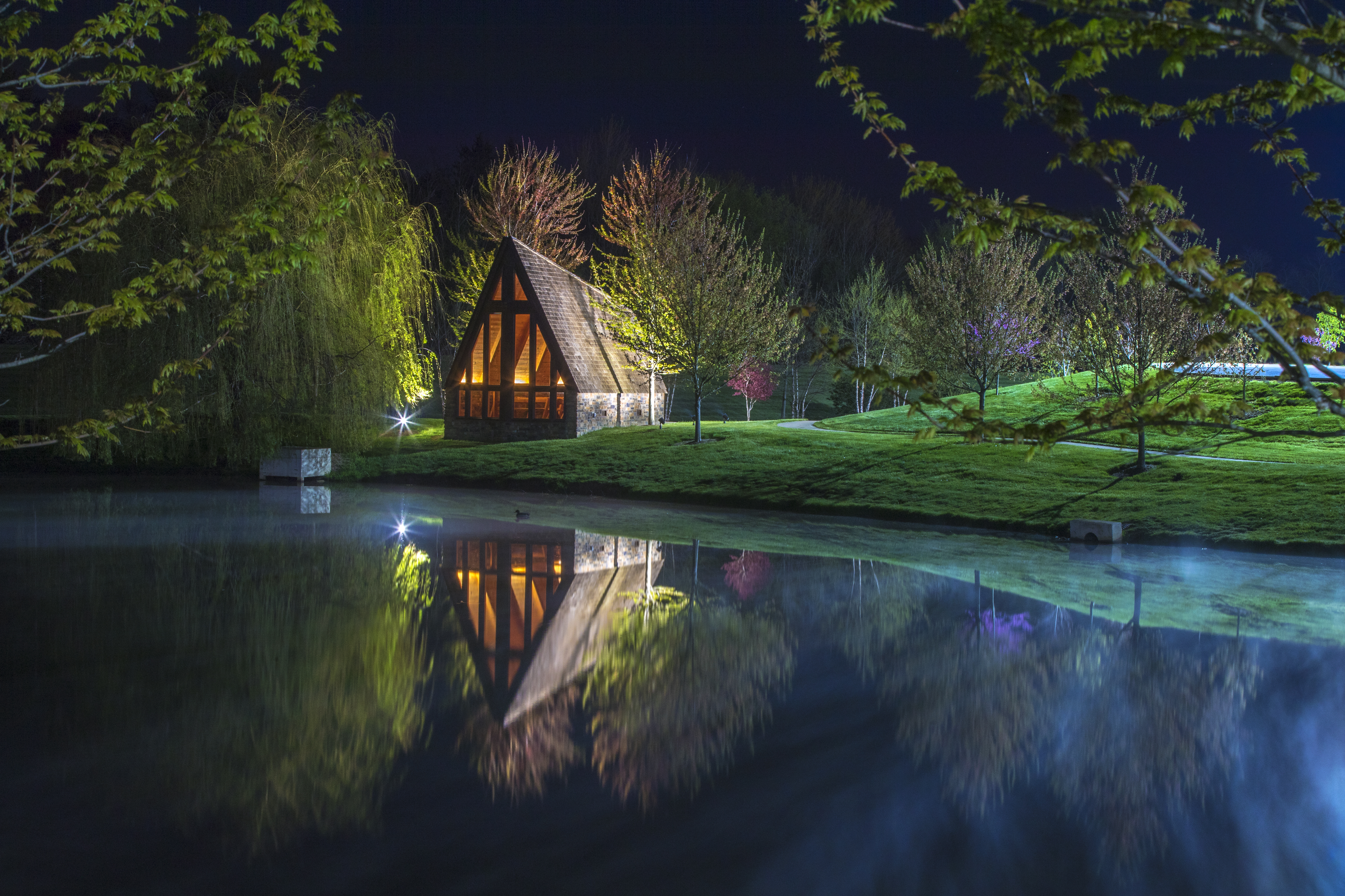 General 5472x3648 landscape nature water lake trees grass night house reflection sky cabin