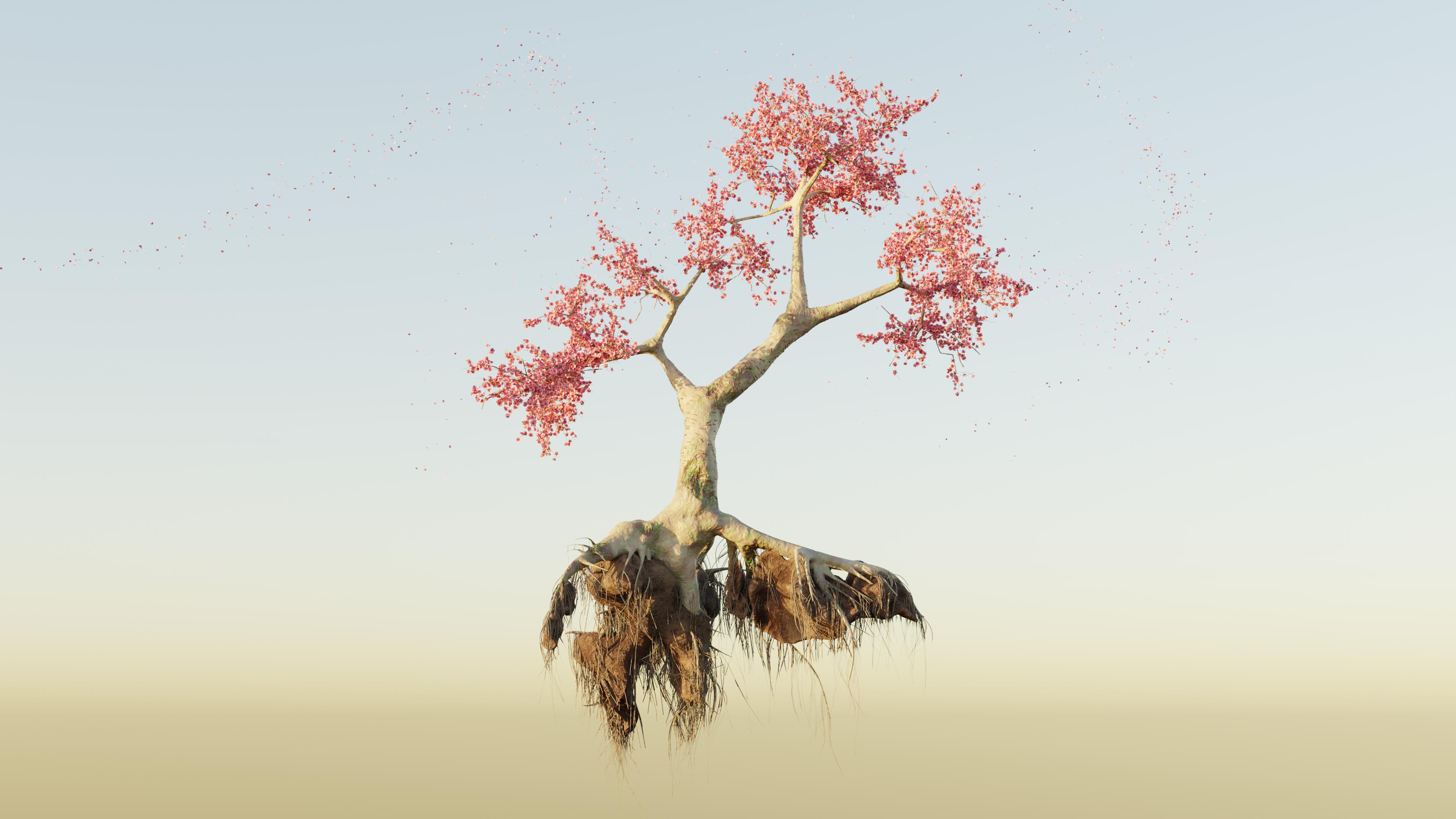 General 3840x2160 Blender 3D graphics 3D tree trunk floating cherry blossom sakura (tree)