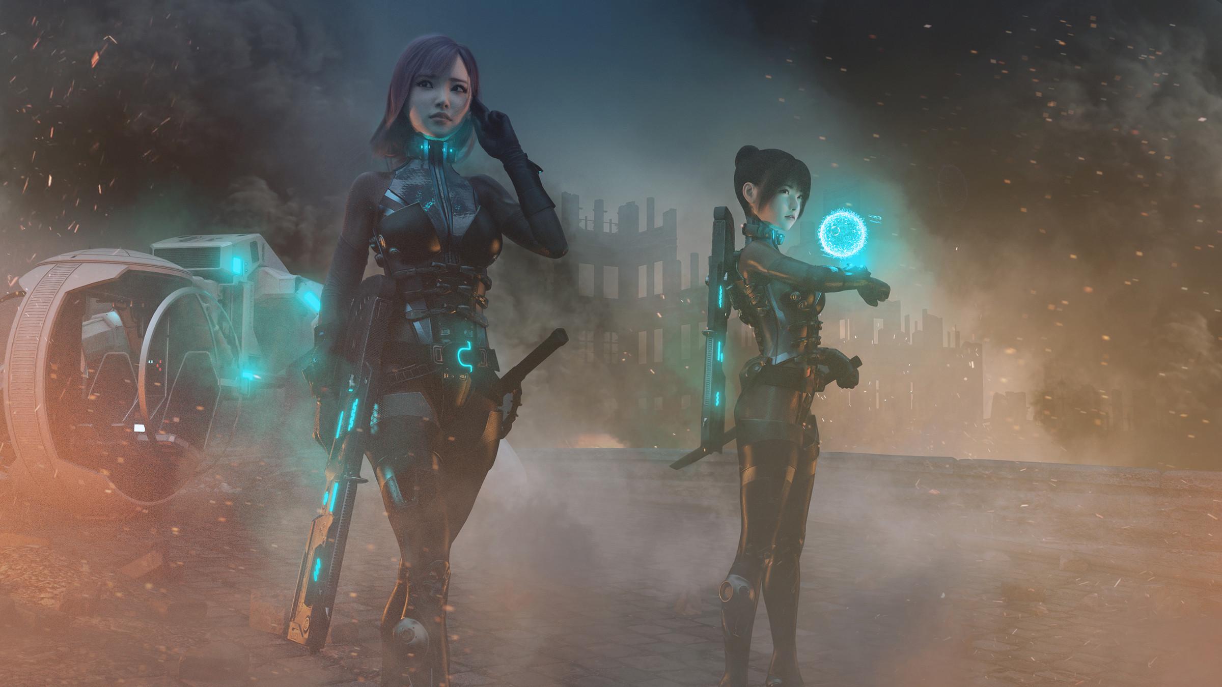 General 2400x1350 Lou LL digital art artwork futuristic hologram weapon soldier science fiction cyan
