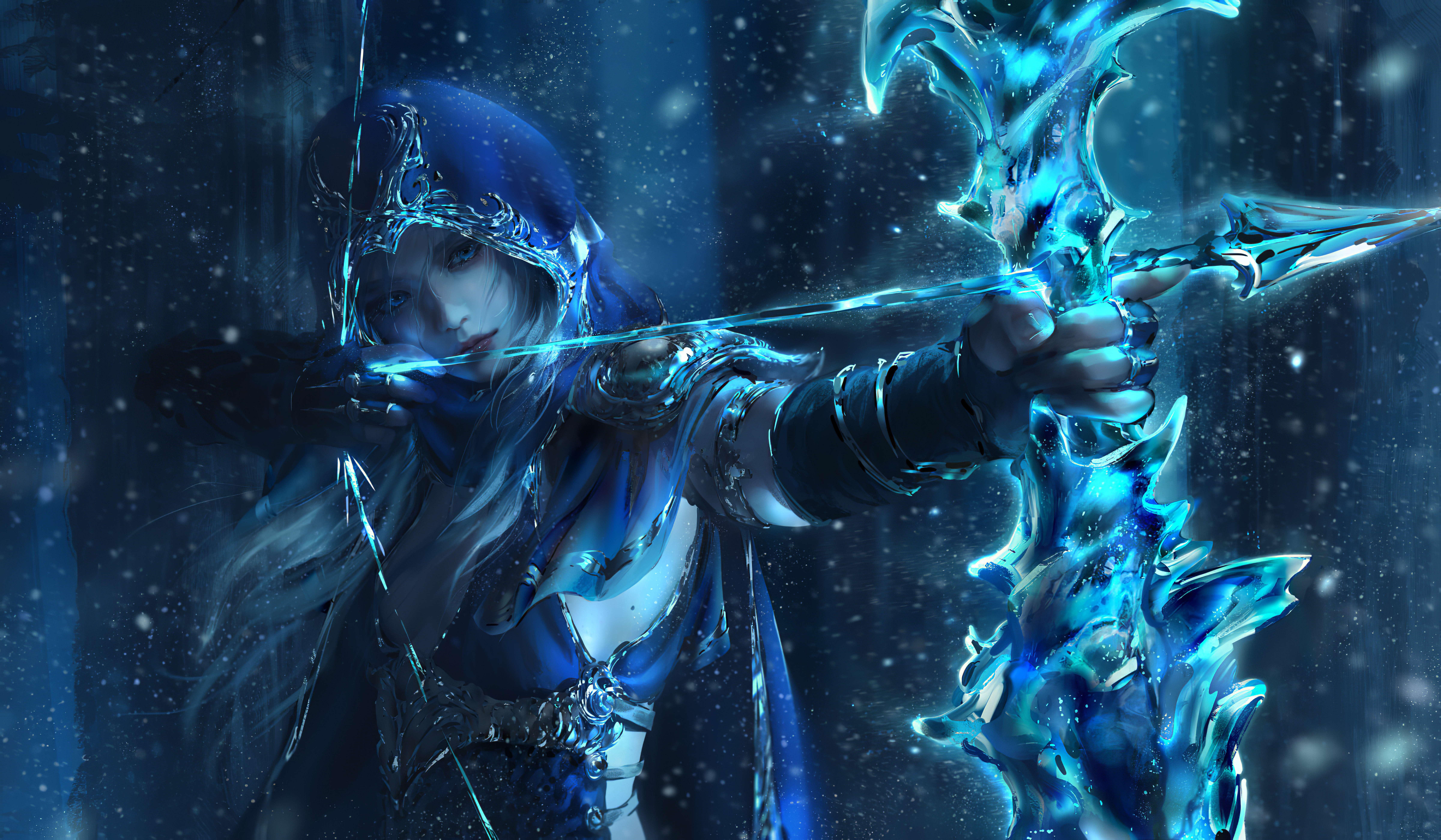 General 9600x5598 League of Legends Ashe (League of Legends) video game art Nixeu arrows warrior fantasy art bow bodysuit PC gaming video game girls archer women hoods aiming fantasy girl blue