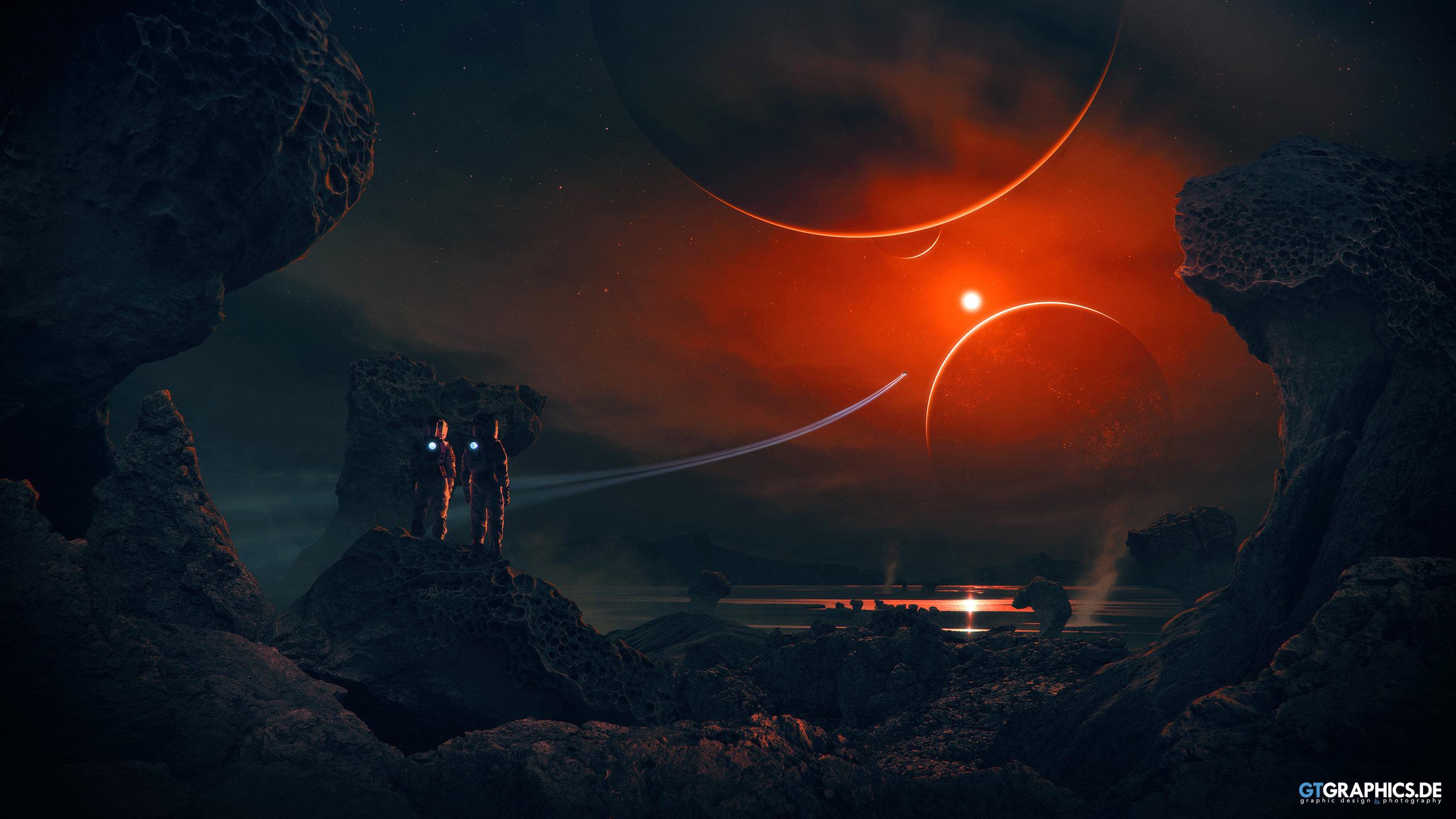 General 2560x1440 Taenaron futuristic 3D planet astronaut rock space Sun digital art spaceship GTGraphics glowing