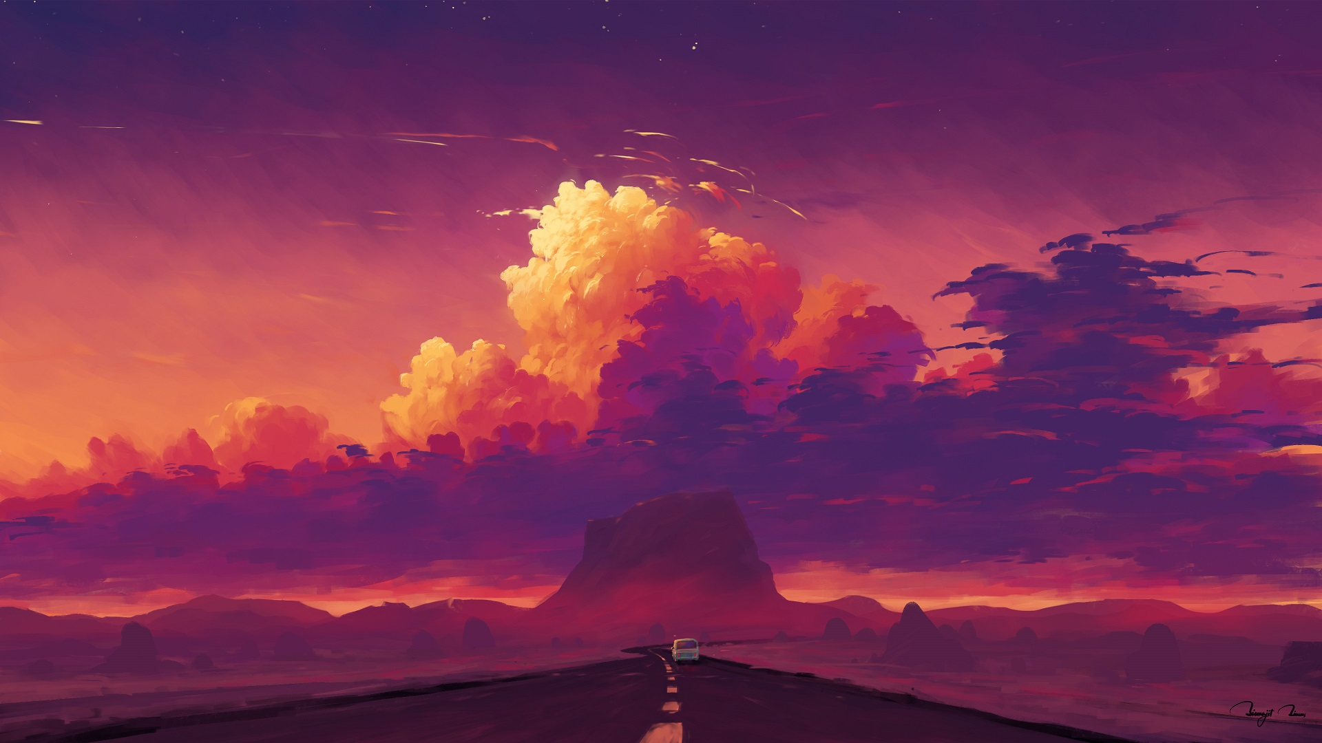 General 1920x1080 digital painting landscape sky clouds car mountains BisBiswas