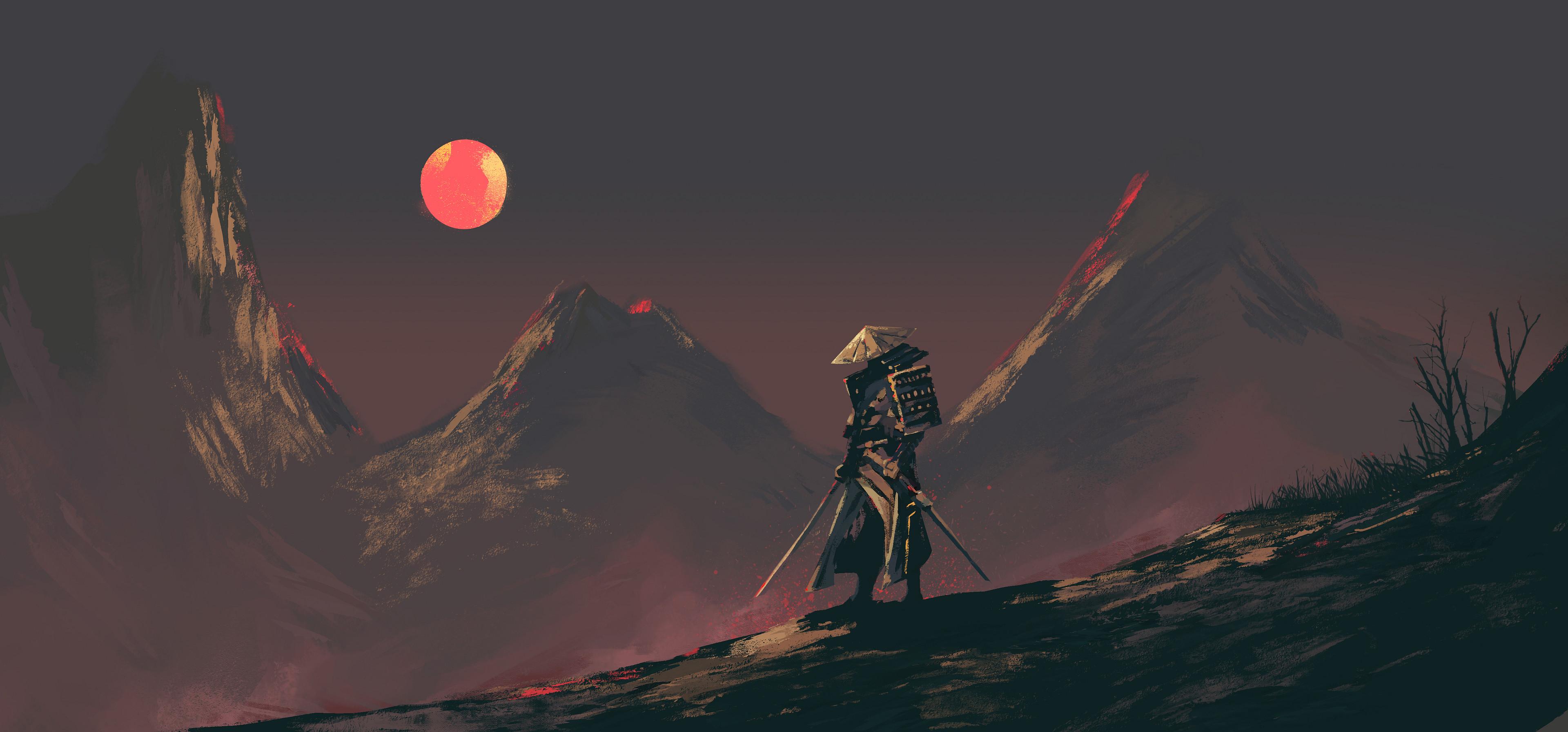 General 3840x1793 digital art landscape samurai Moon mountains night Xavier Cuenca artwork starry night ArtStation sky