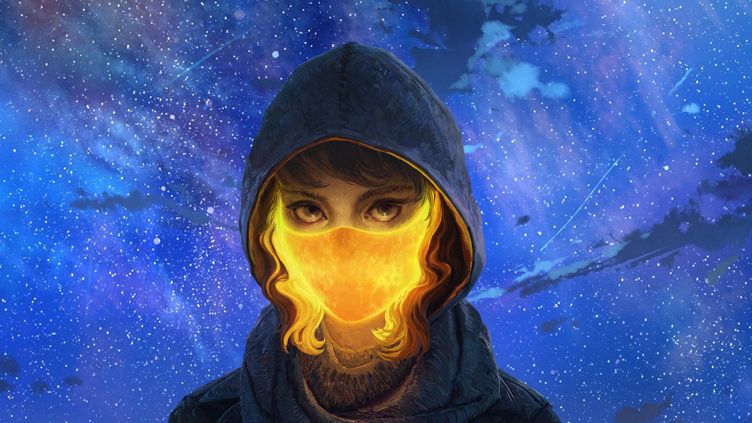 General 2560x1440 women mask hoods glowing stars sky curly hair night