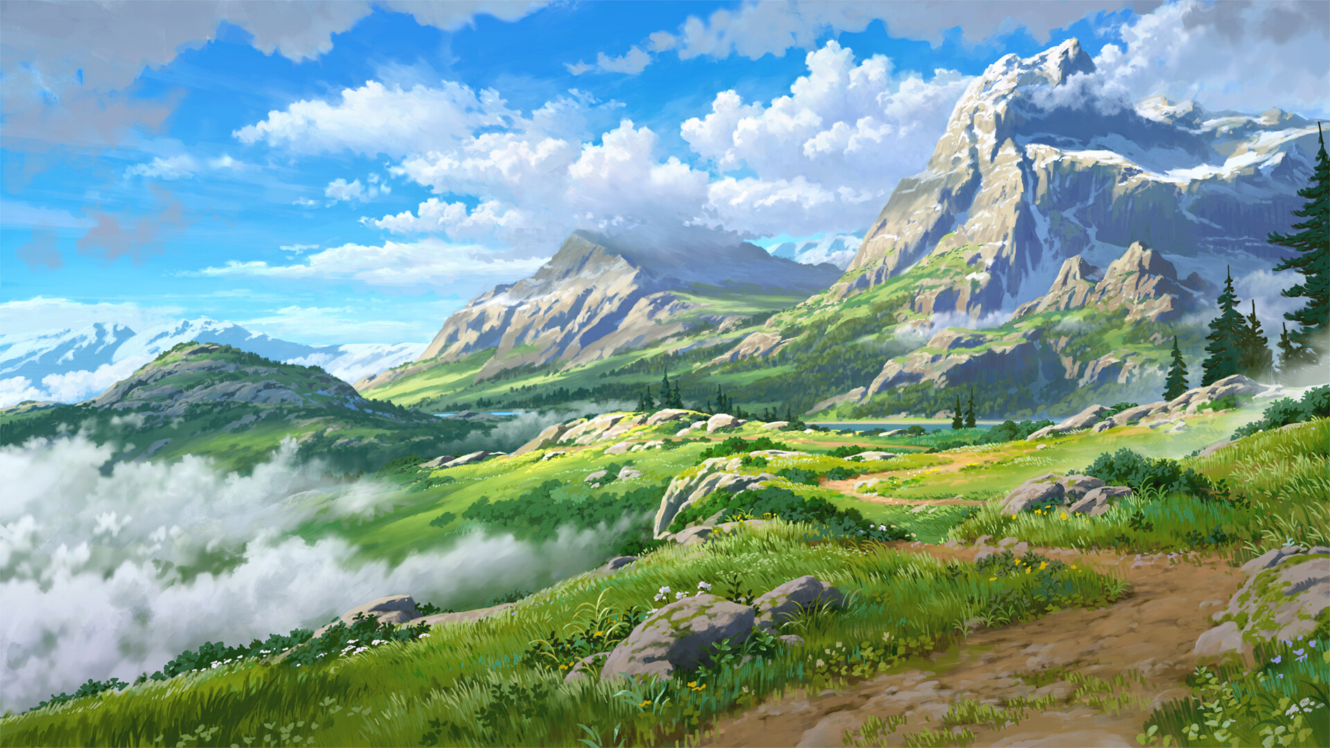 Anime 1920x1080 artwork digital art nature mountains path landscape grass