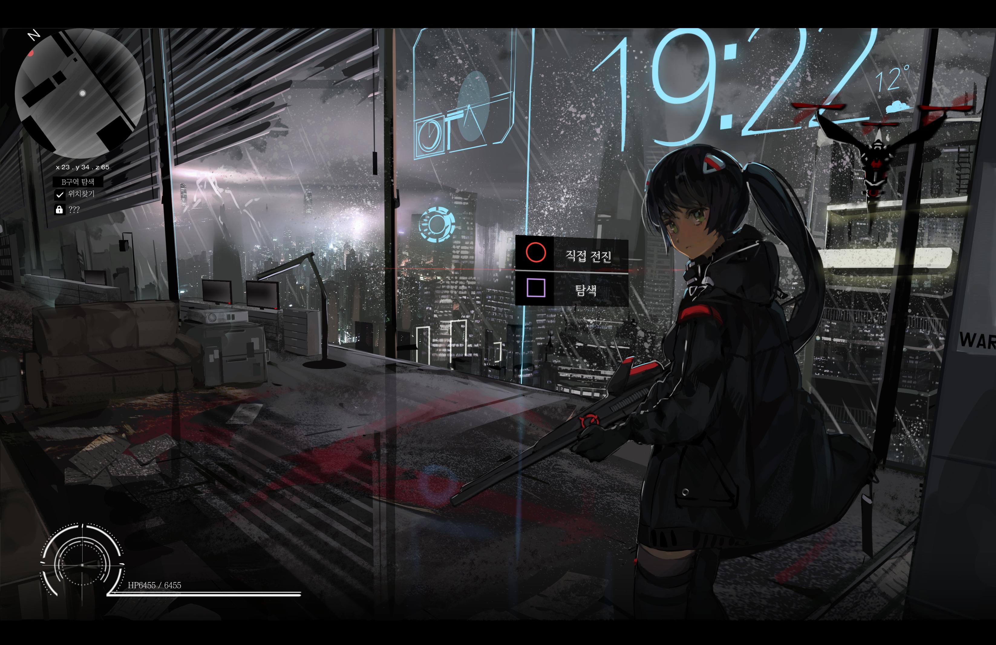 Anime 3293x2134 anime anime girls weapon Korean drone city rain night shotgun numbers futuristic