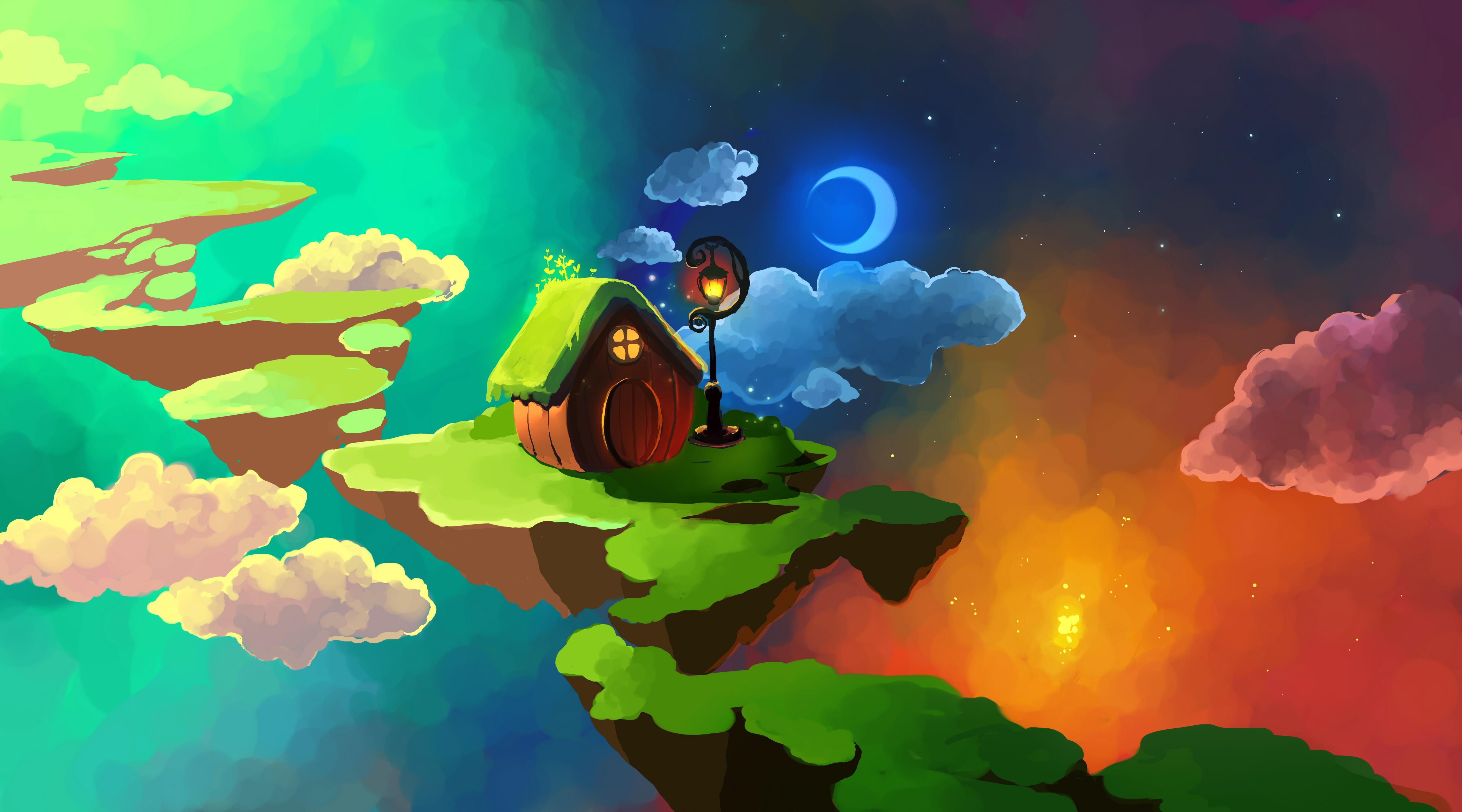 General 5400x3000 Chibionpu floating island space Moon stars clouds cottage artwork lantern street light