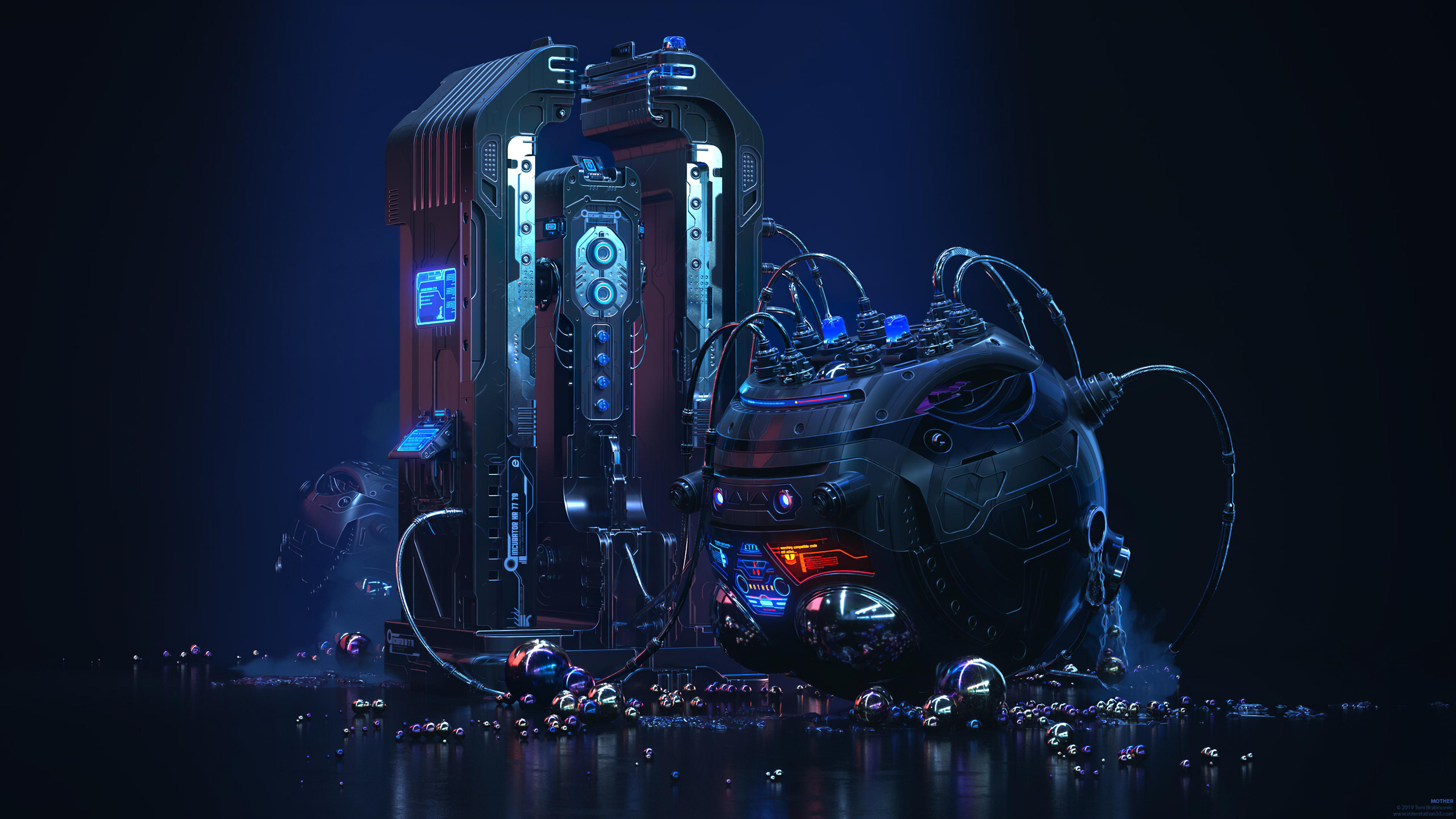 General 3840x2160 Toni Bratincevic futuristic wires machine robotics