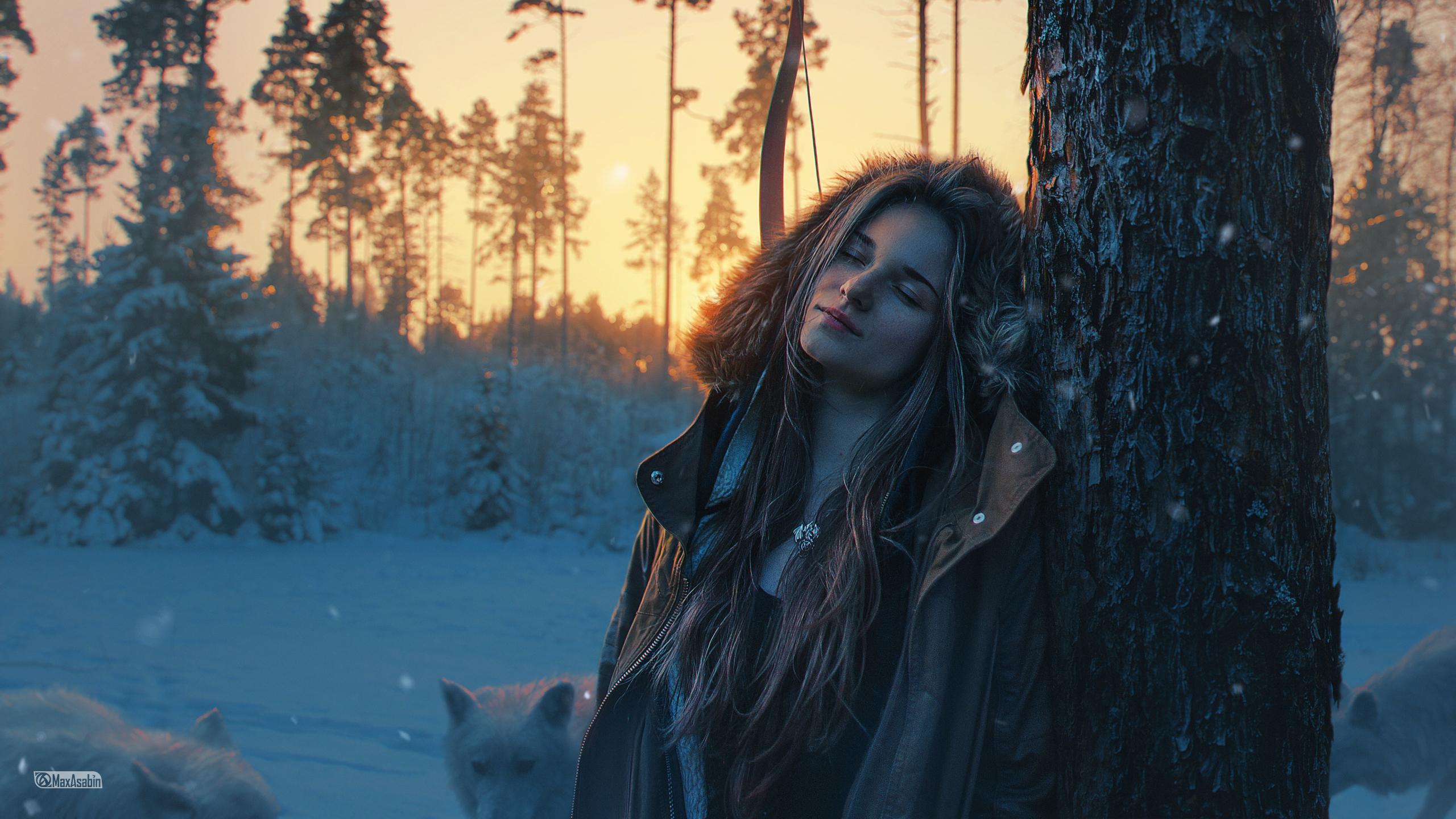 People 2560x1440 photography retouching digital art artwork Photoshop women women outdoors Sun sunset dusk wolf wood trees forest animals landscape model hoods brown jacket open jacket coats