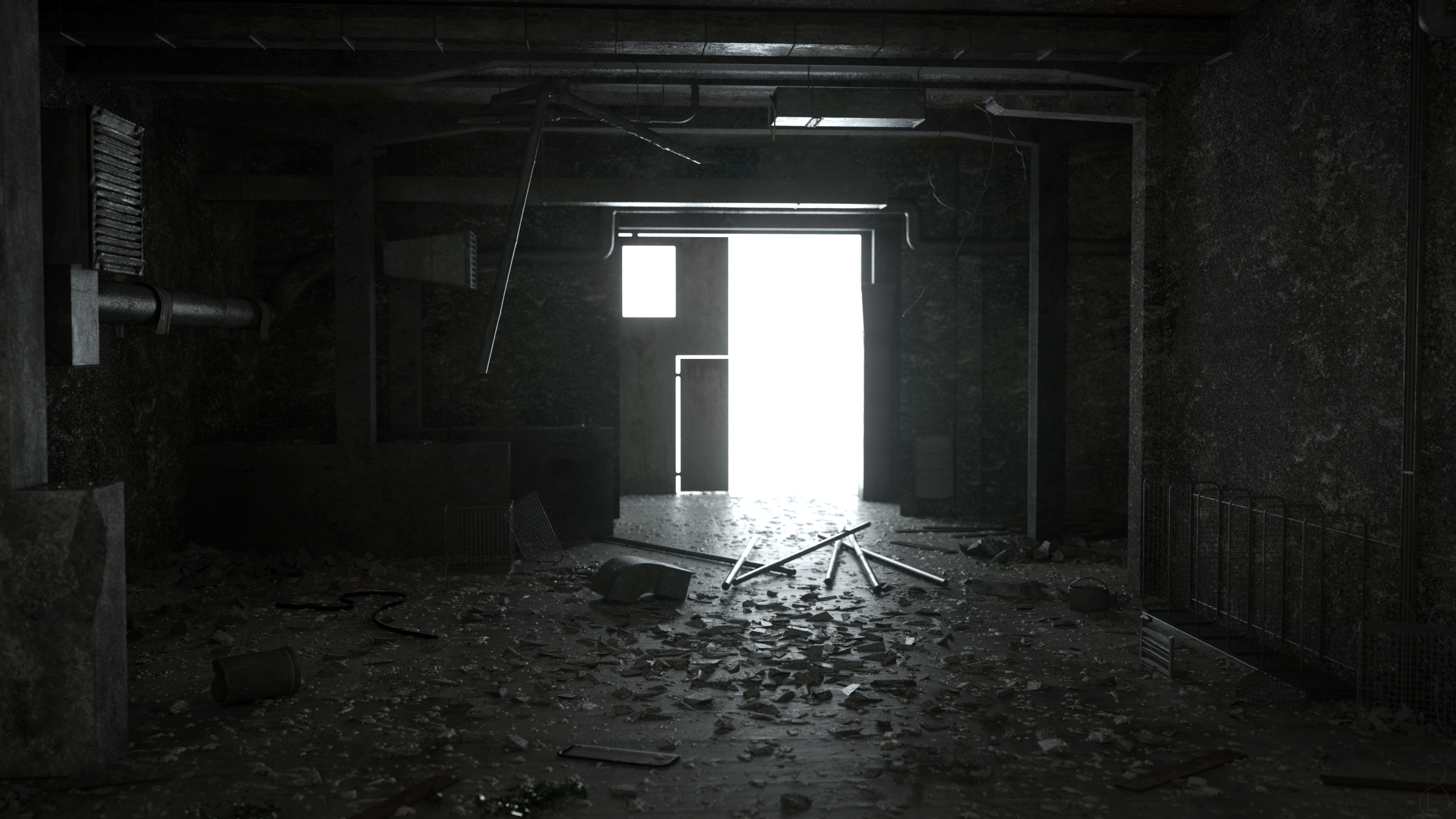 General 2560x1440 abandoned building factory factory tubes Chernobyl dirt grunge desolate lattice debris rust trash CGI 3D graphics