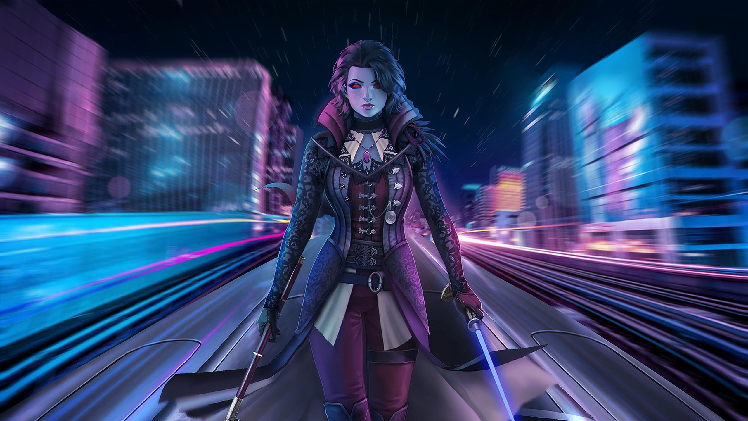 General 2560x1440 digital digital art artwork women weapon bokeh fantasy girl cyber cyberpunk neon lights neon lights city lightsaber science fiction city lights long exposure cyan