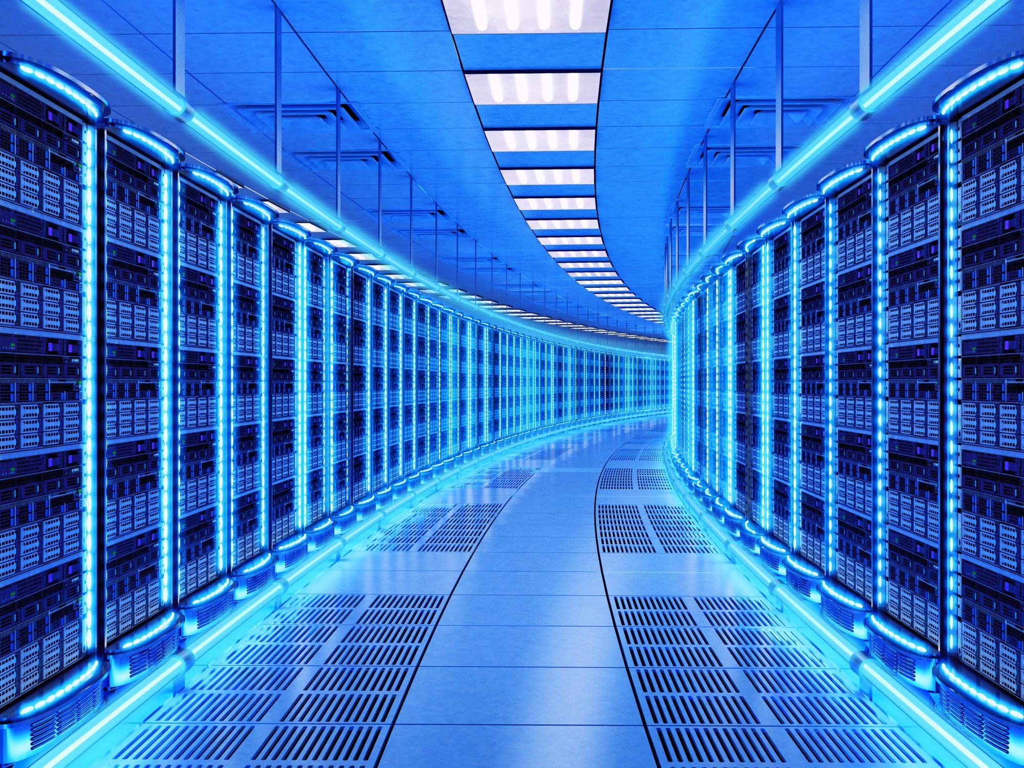 General 2000x1500 digital blue hallway technology server neon glowing network datacenter data center
