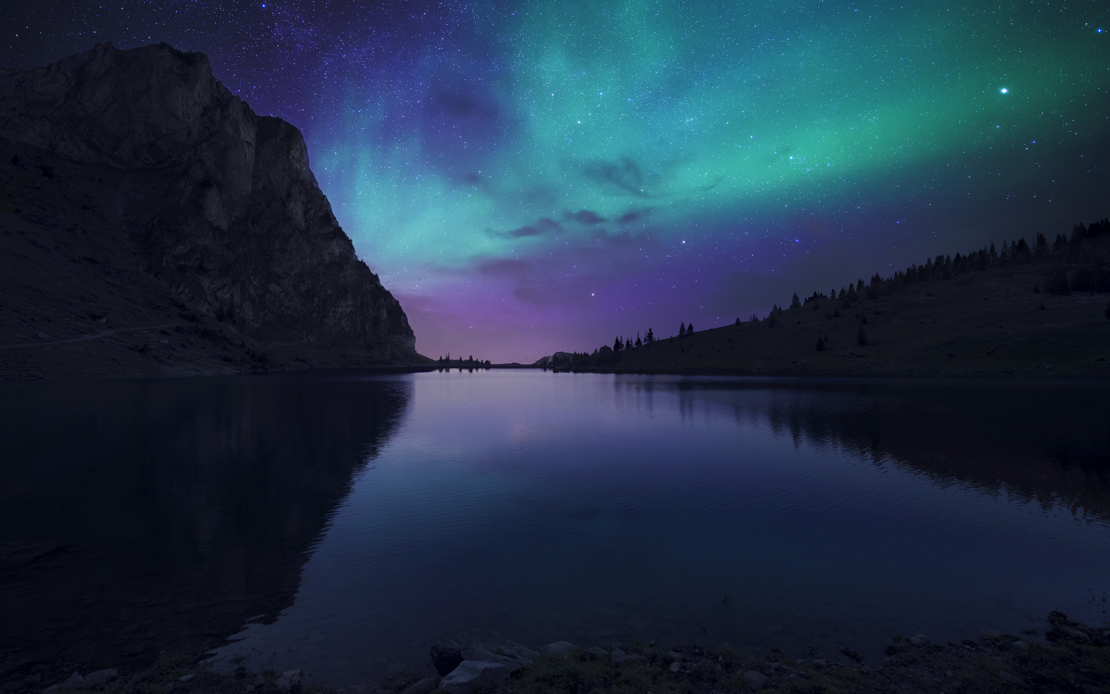 General 3840x2400 landscape nature lake mountains night dark sky stars