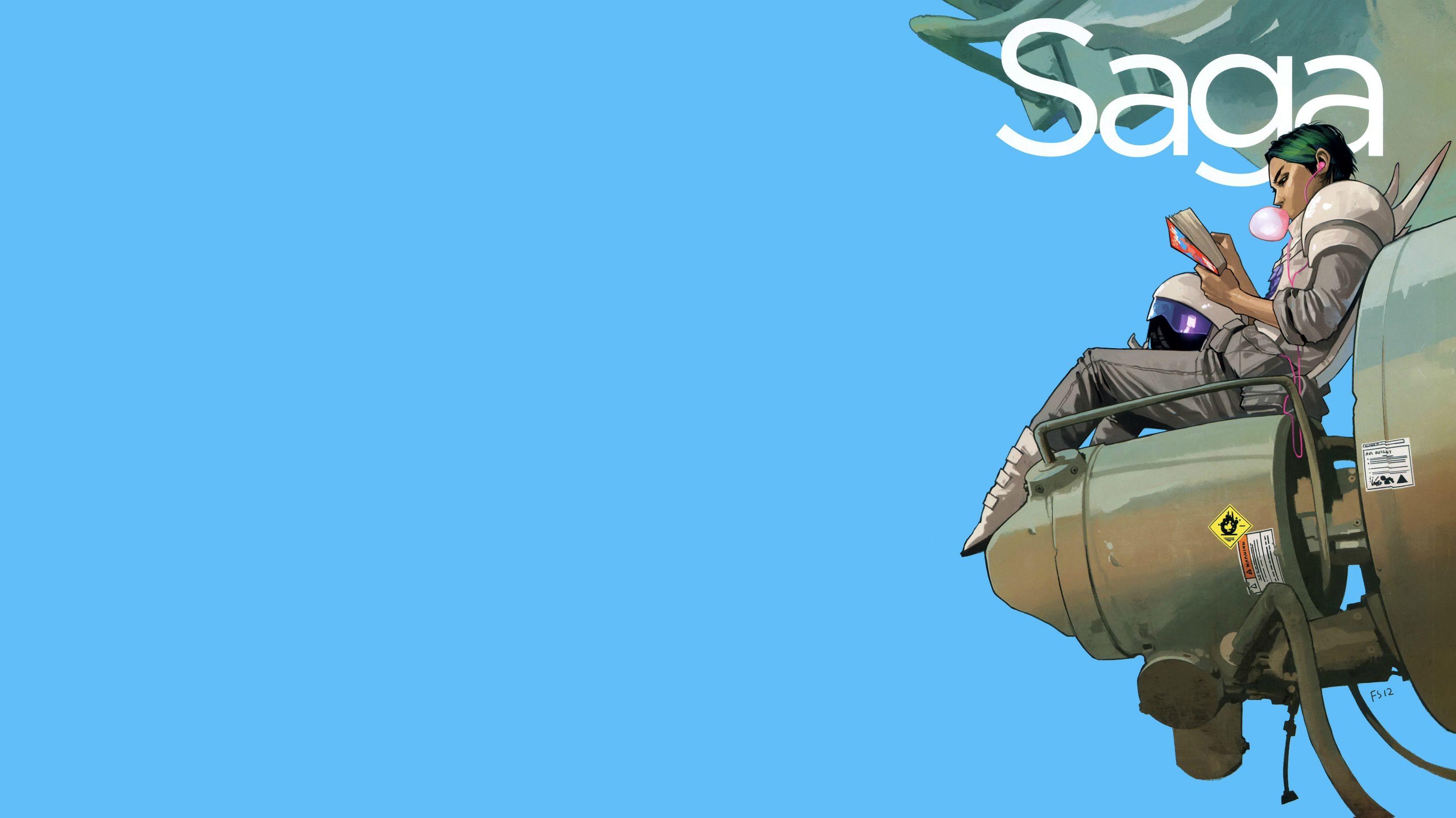 General 3344x1880 comics Saga Alana (Saga) simple background cyan cyan background