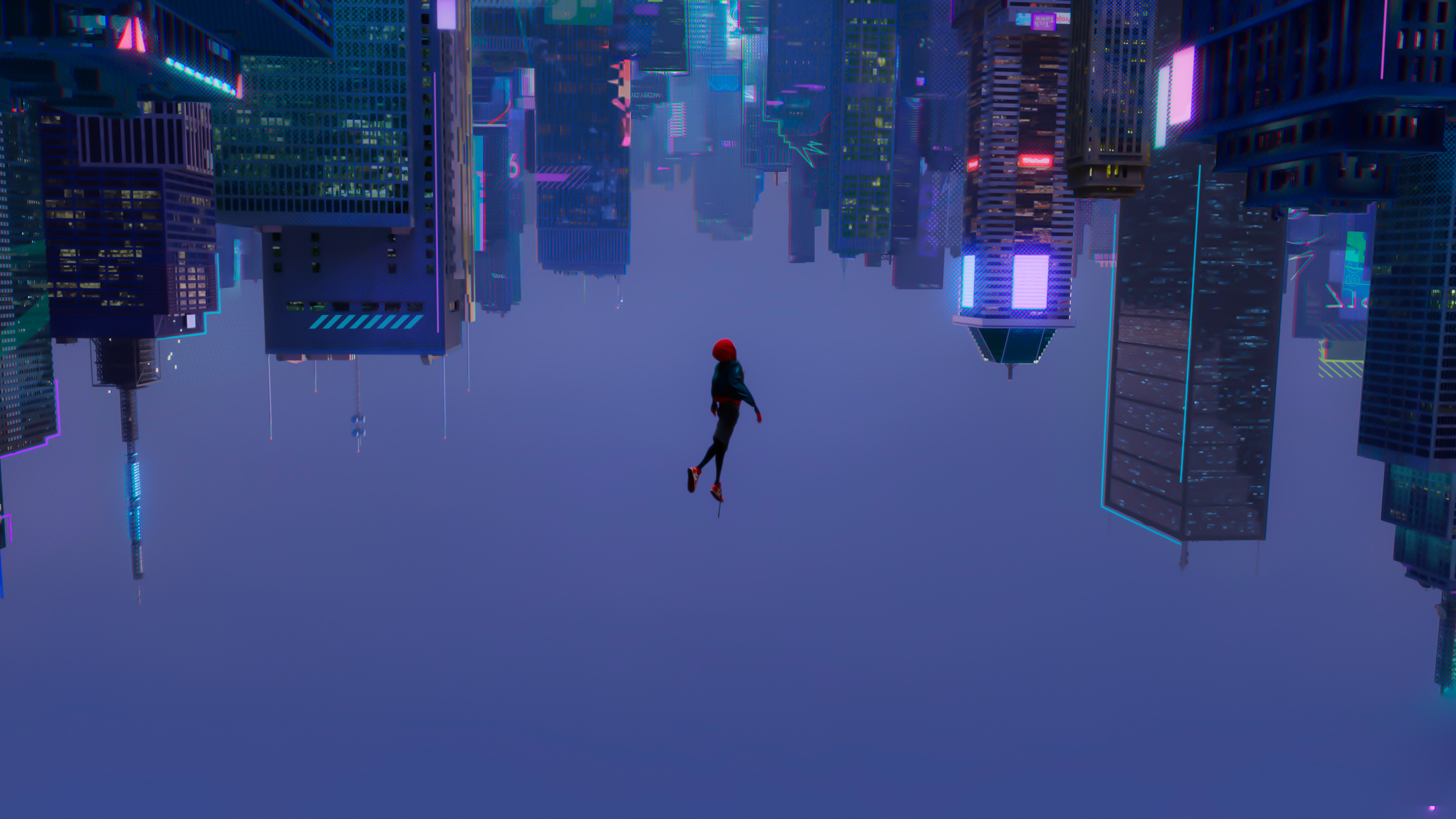 General 3129x1760 cyberpunk skyscraper upside down animated movies Spider-Man Miles Morales Marvel Comics Spider-Man: Into the Spider-Verse