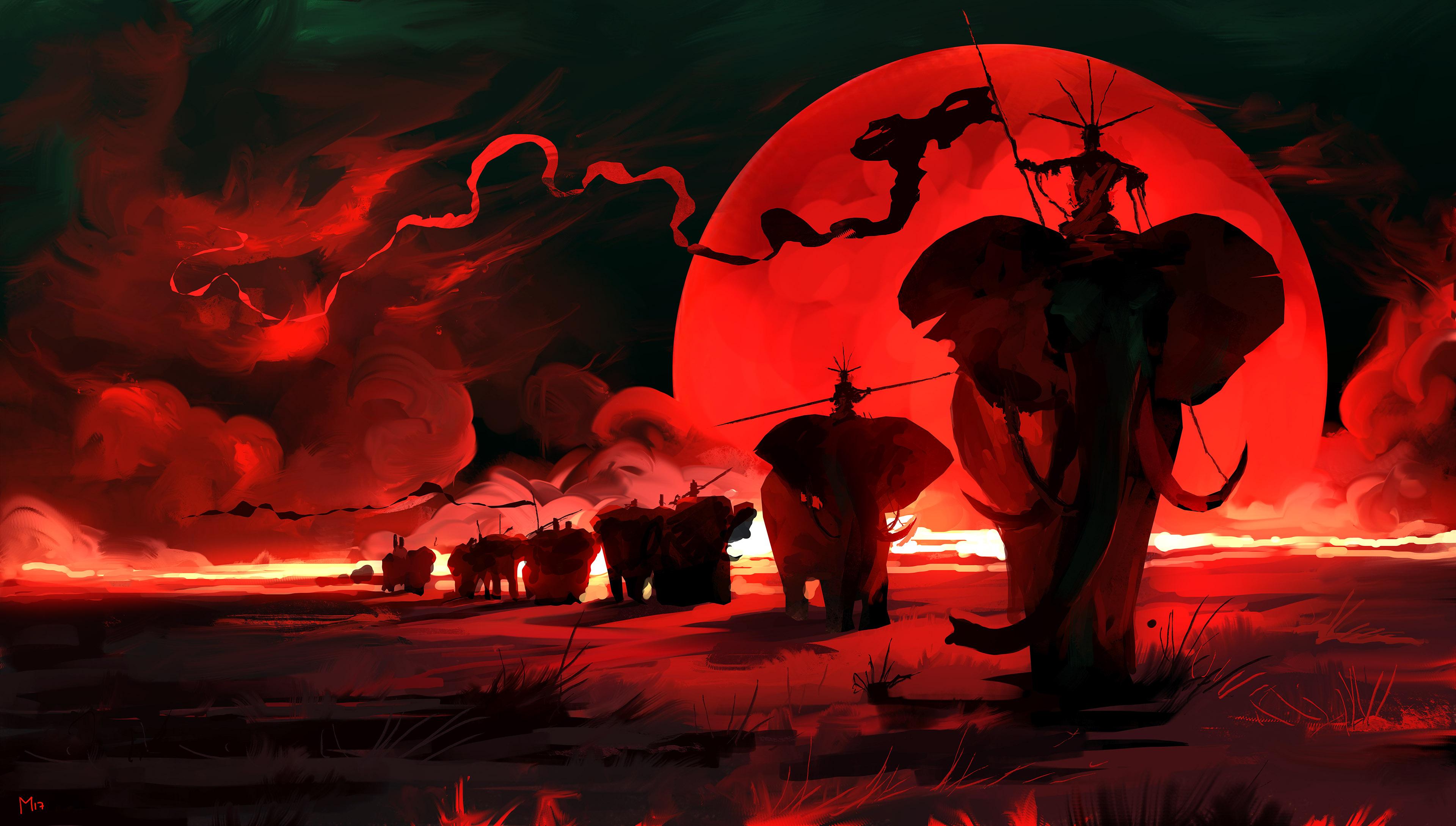 General 3840x2179 red moon elephant Dominik Mayer painting digital art artwork red