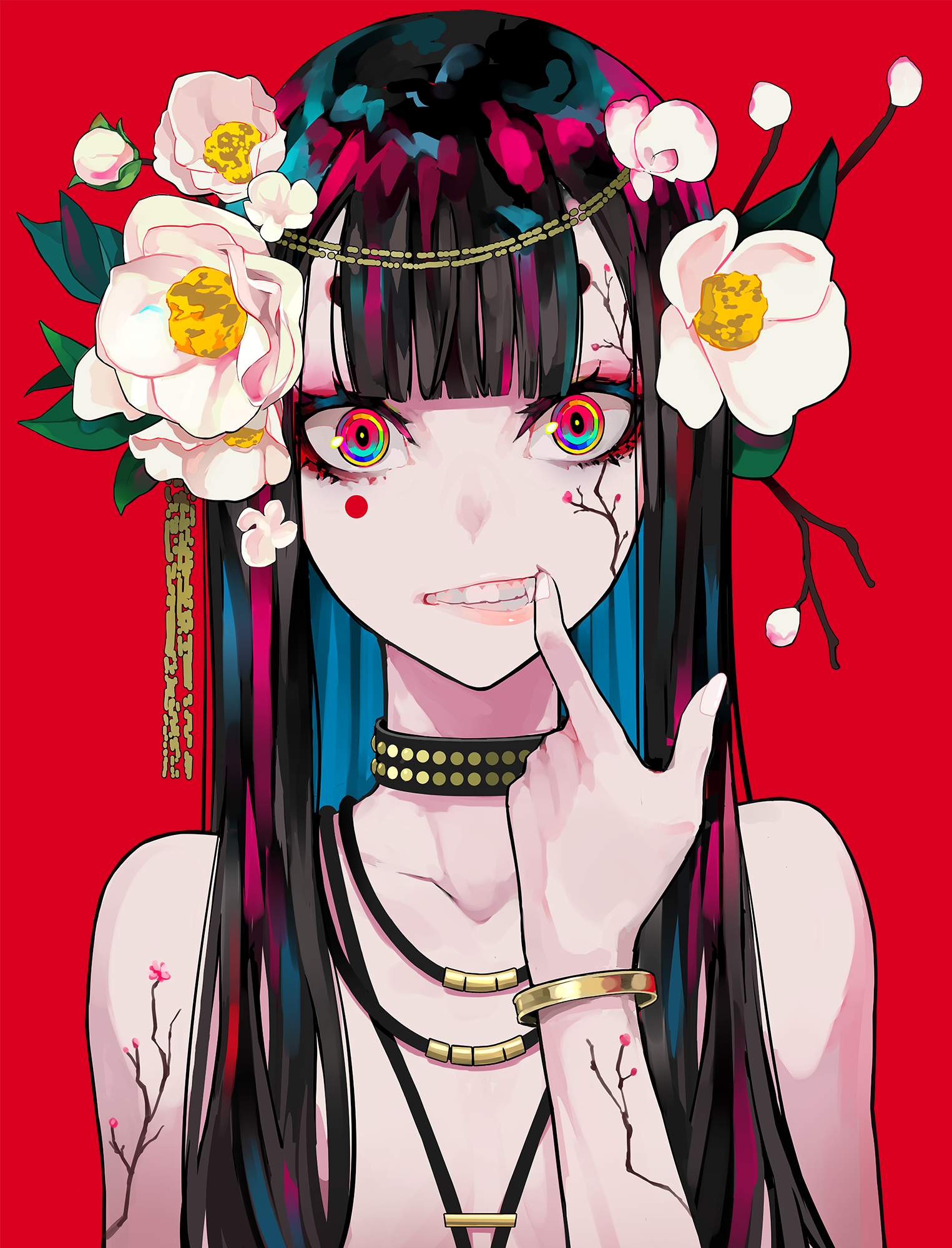 Anime 1525x2000 portrait display artwork digital art 2D looking at viewer fangs flower in hair necklace long hair painting illustration original characters drawing anime girls red background face flowers dark hair colorful bracelets LAM anime simple background