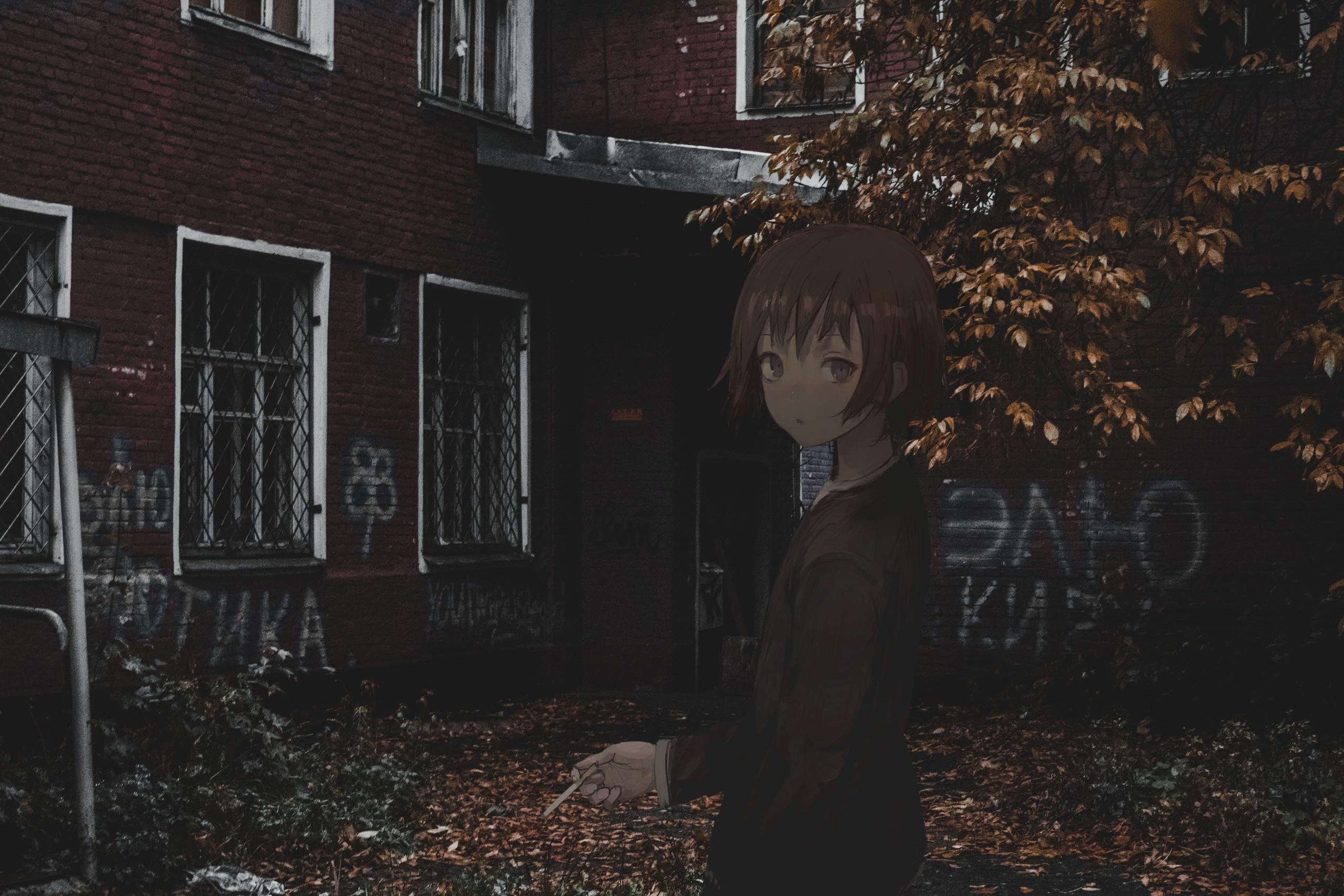 Anime 2560x1707 shion (mirudakemann) anime girls 2D cigarettes fall short hair evening anime urban Russia