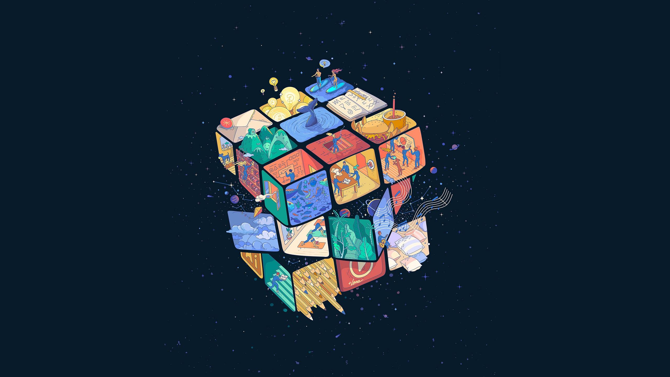 General 2560x1440 artwork digital art Rubik's Cube 3D abstract 3D Blocks simple background blue background cube