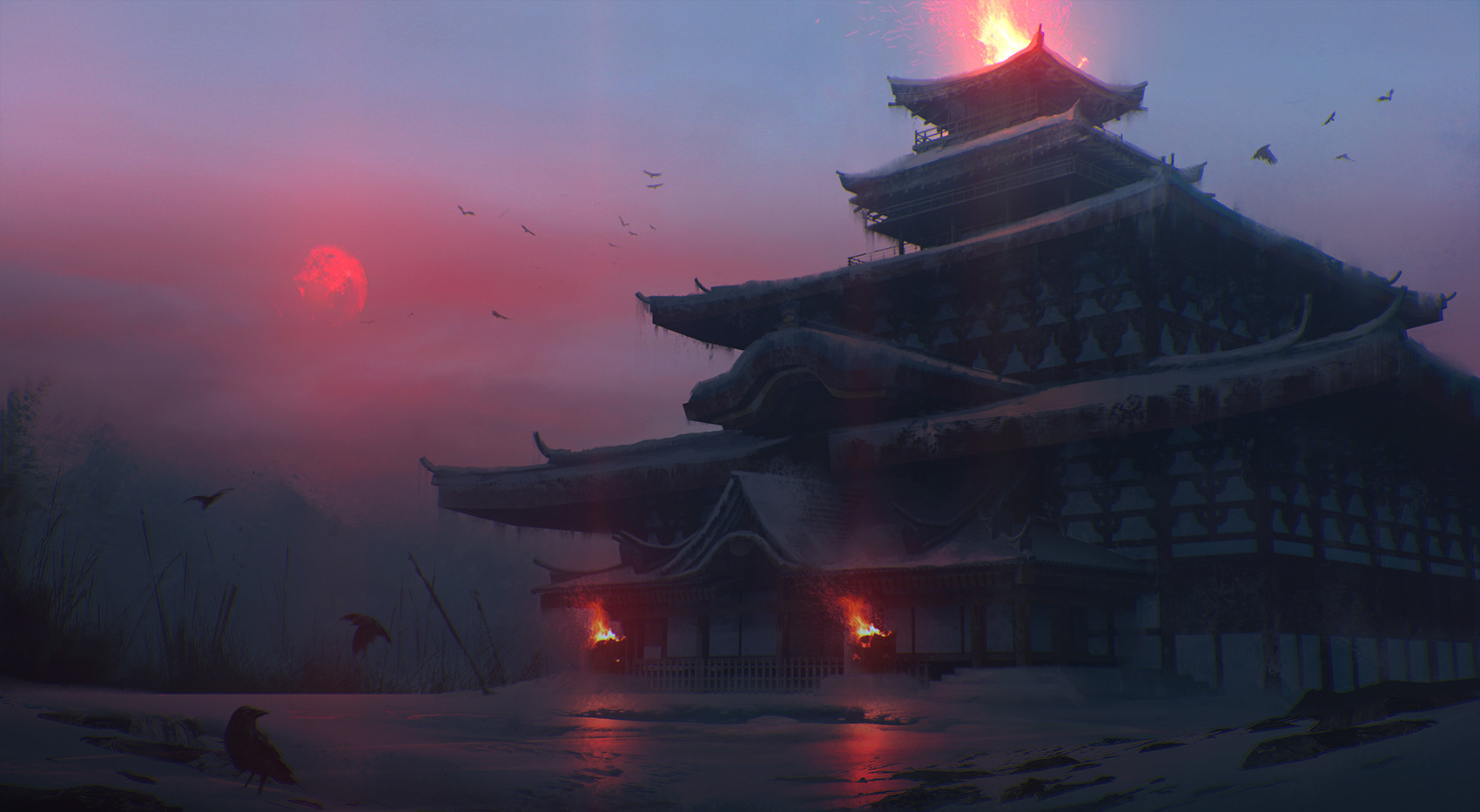 General 1700x933 Quentin BOUILLOUD artwork digital art Japan Feudal Japan