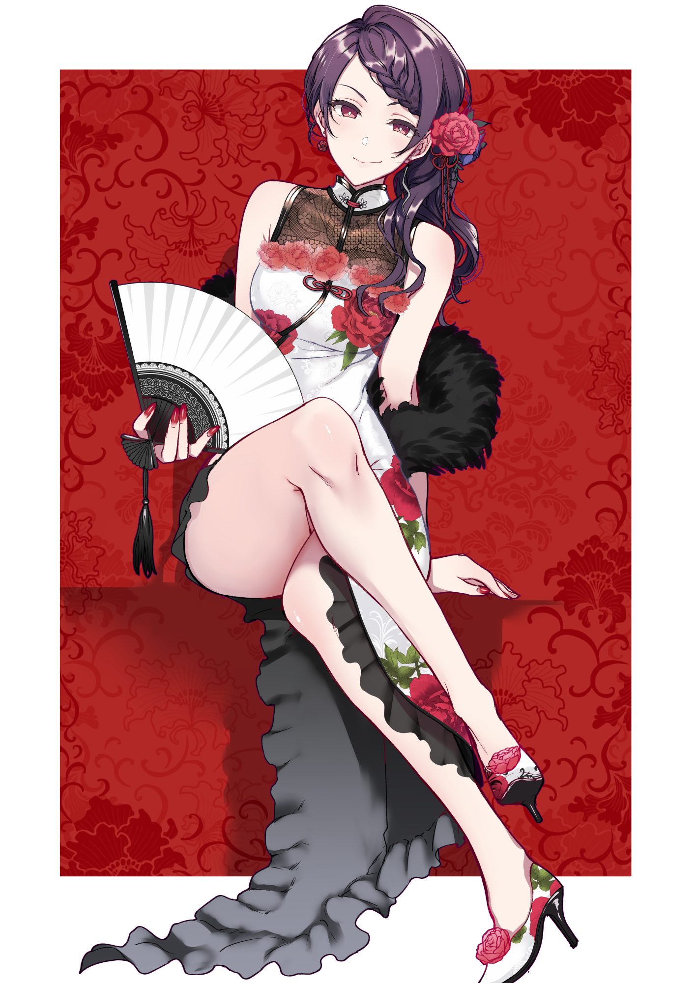 Anime 1416x2000 anime anime girls digital art artwork 2D portrait display vertical Pochigoya Pochi Gundo Mirei Virtual Youtuber Nijisanji qipao Cheongsam Chinese dress heels purple hair smirk