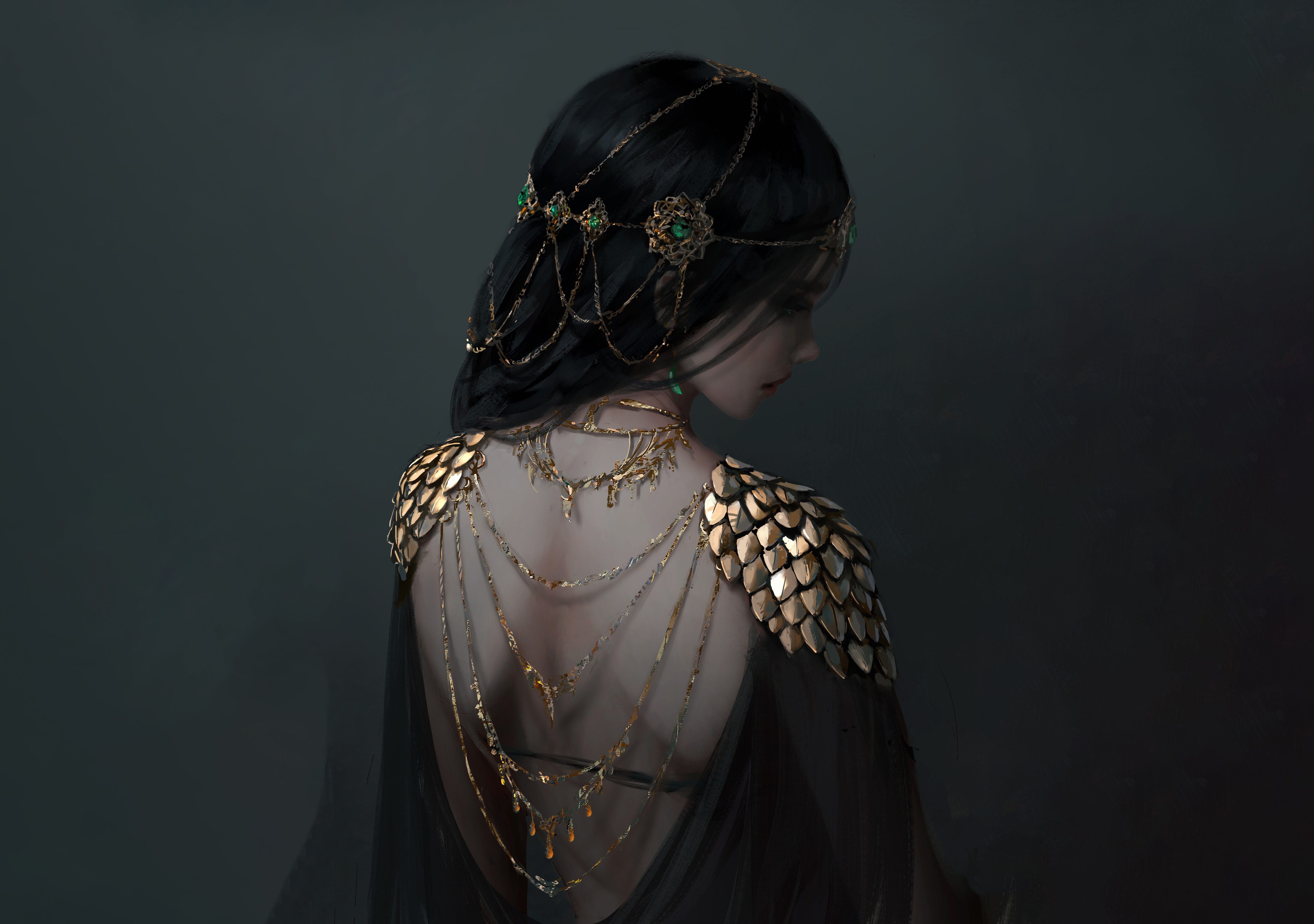 Anime 5339x3755 women black hair WLOP fantasy art fantasy girl