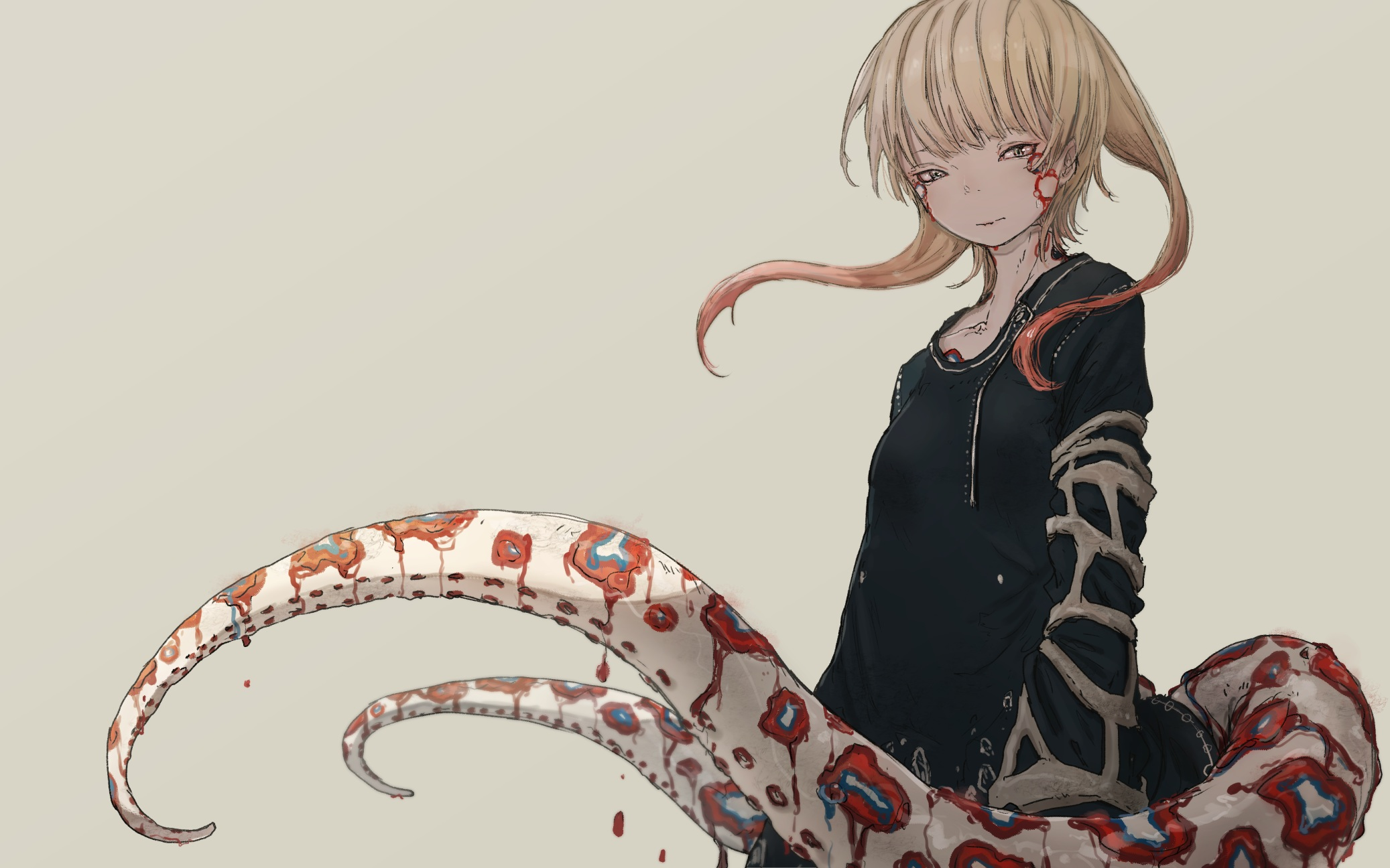 Anime 2074x1296 dress tentacles blonde