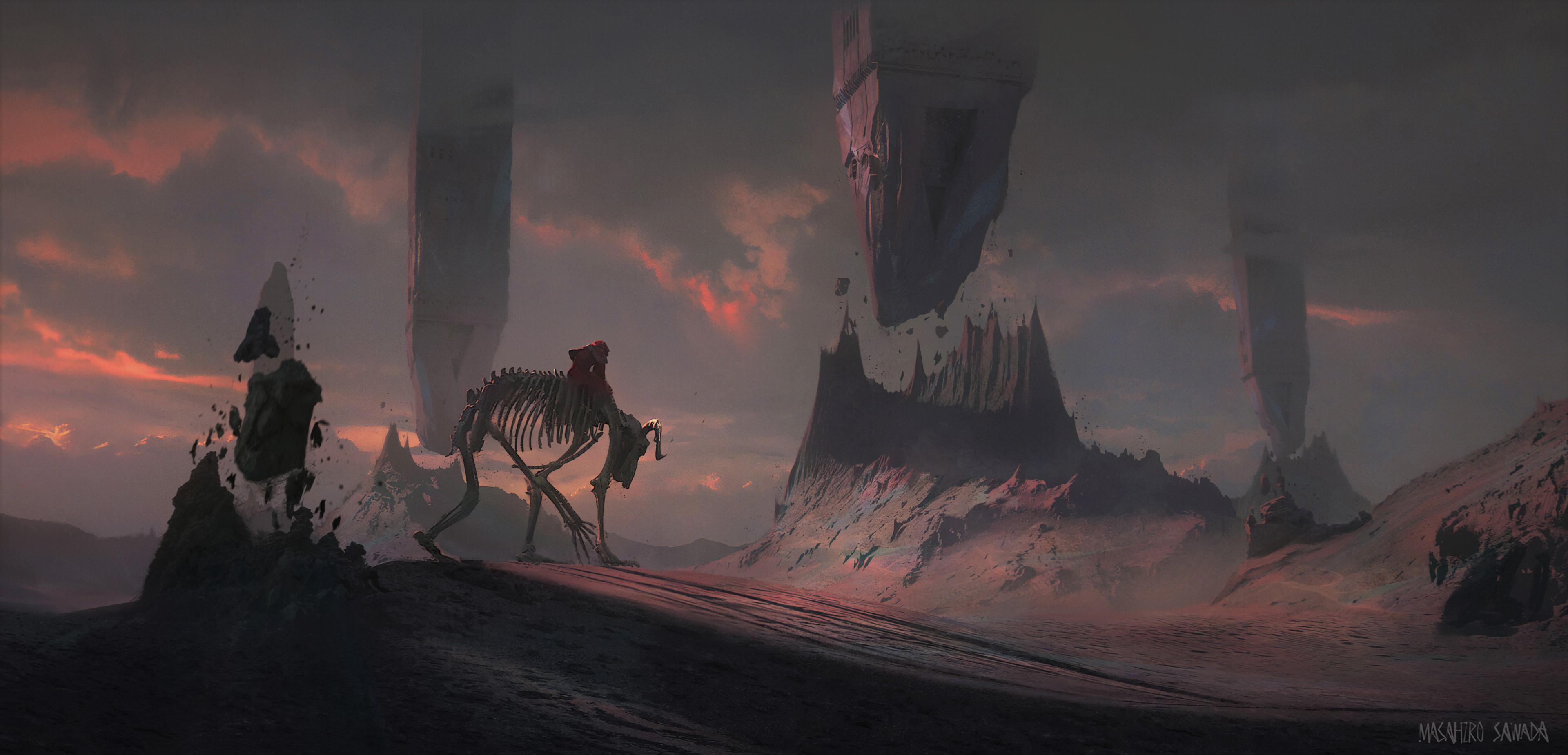 General 3840x1850 Thu Berchs fantasy art mountains alien world skeleton