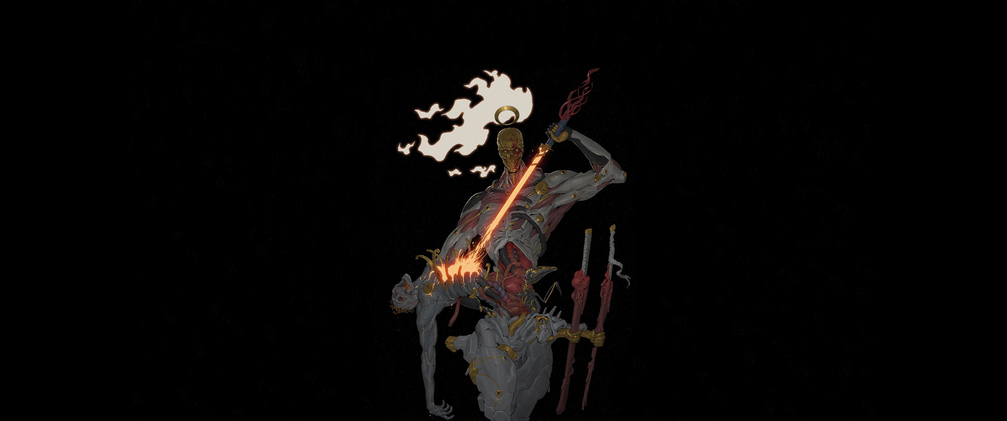 Anime 3440x1440 katana minimalism black background fantasy art artwork frontal view