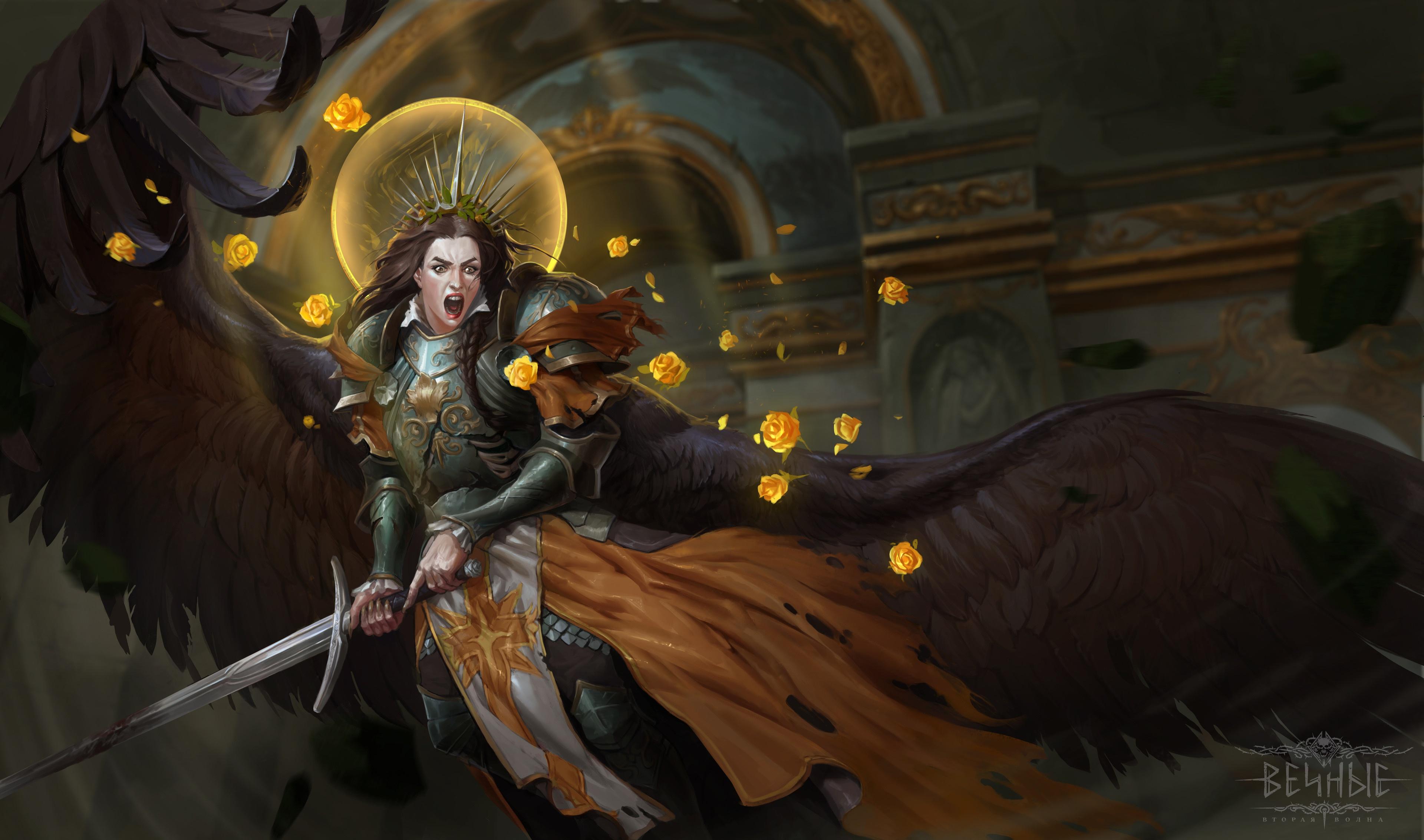 General 3840x2265 girls with swords fantasy art ArtStation fantasy girl wings open mouth sword