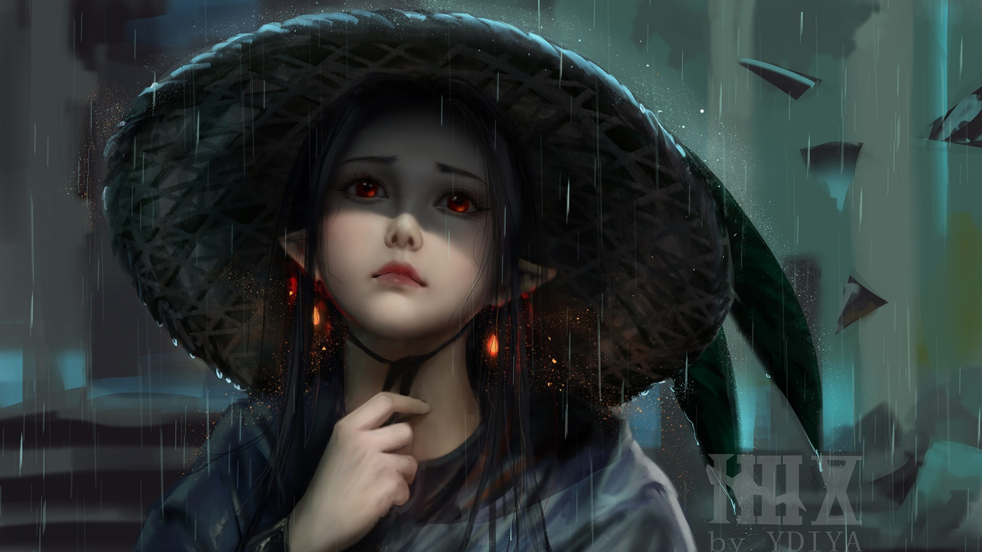 Anime 1920x1080 long hair hat red eyes elf ears digital art rain brunette