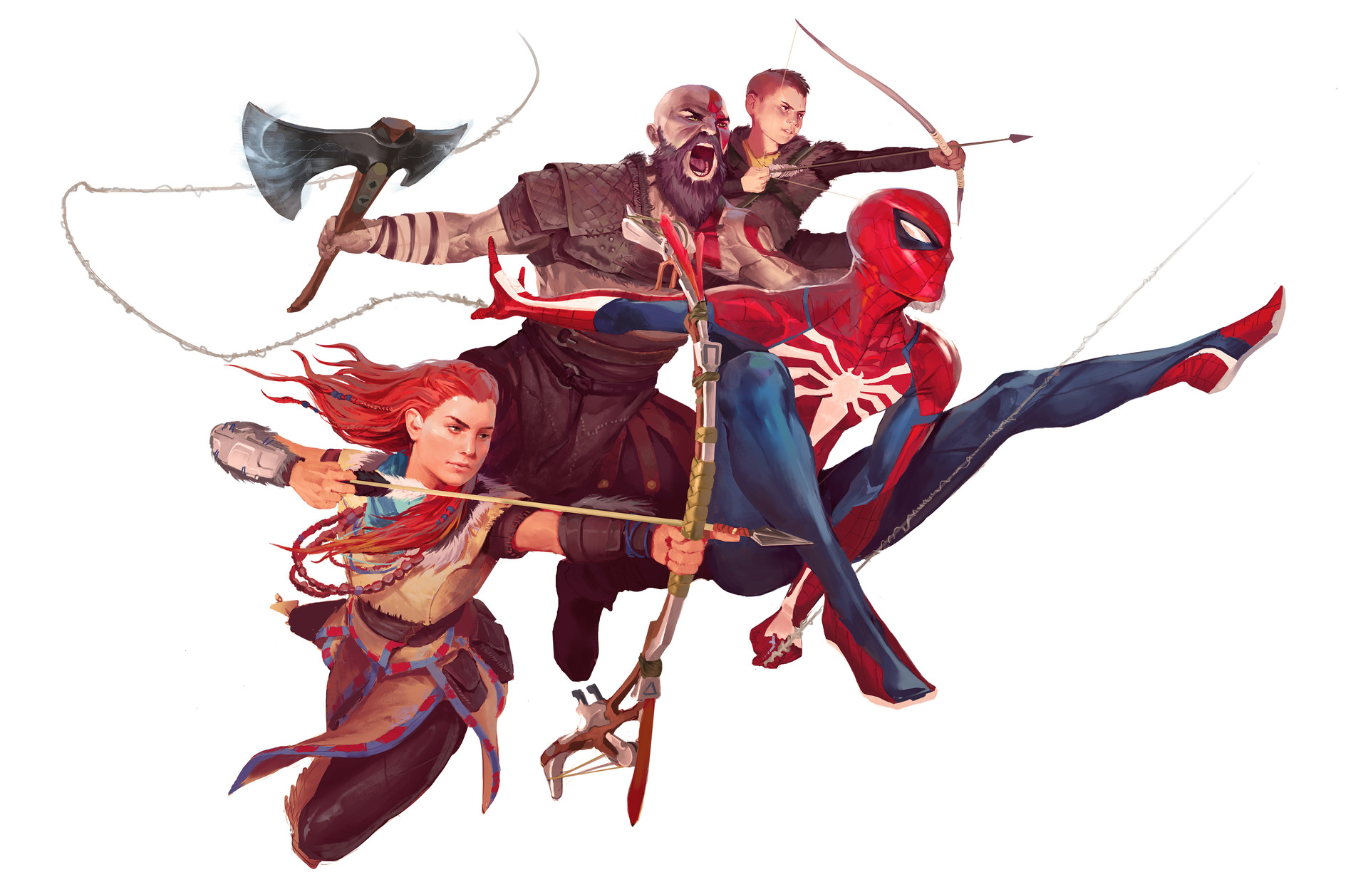 General 1920x1238 God of War God of War (2018) Spider-Man (2018) Spider-Man Horizon: Zero Dawn Kratos Aloy (Horizon: Zero Dawn) video games video game art artwork PlayStation 4