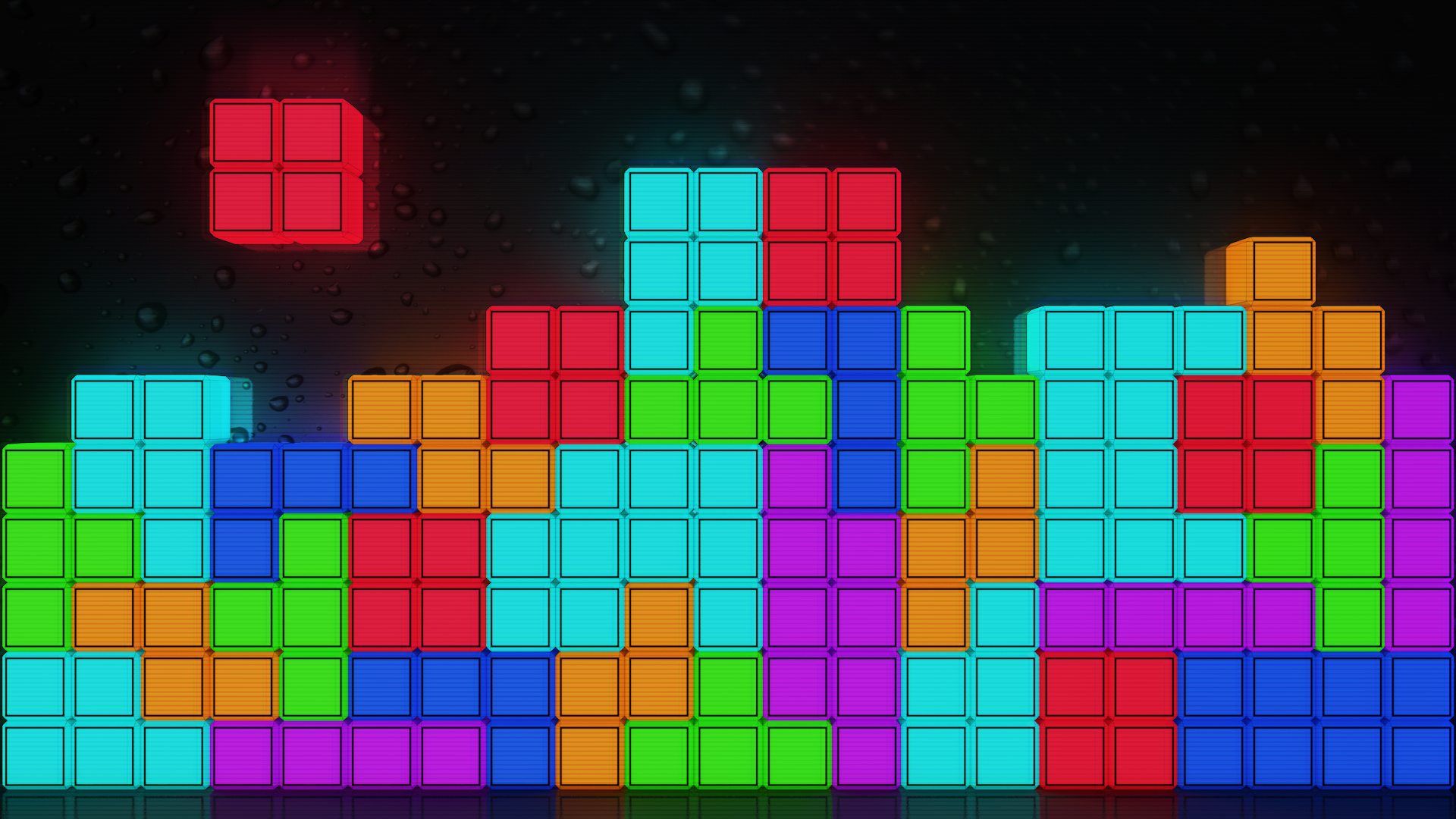 General 1920x1080 Tetris VHS abstract minimalism colorful video games video game art 3D Blocks