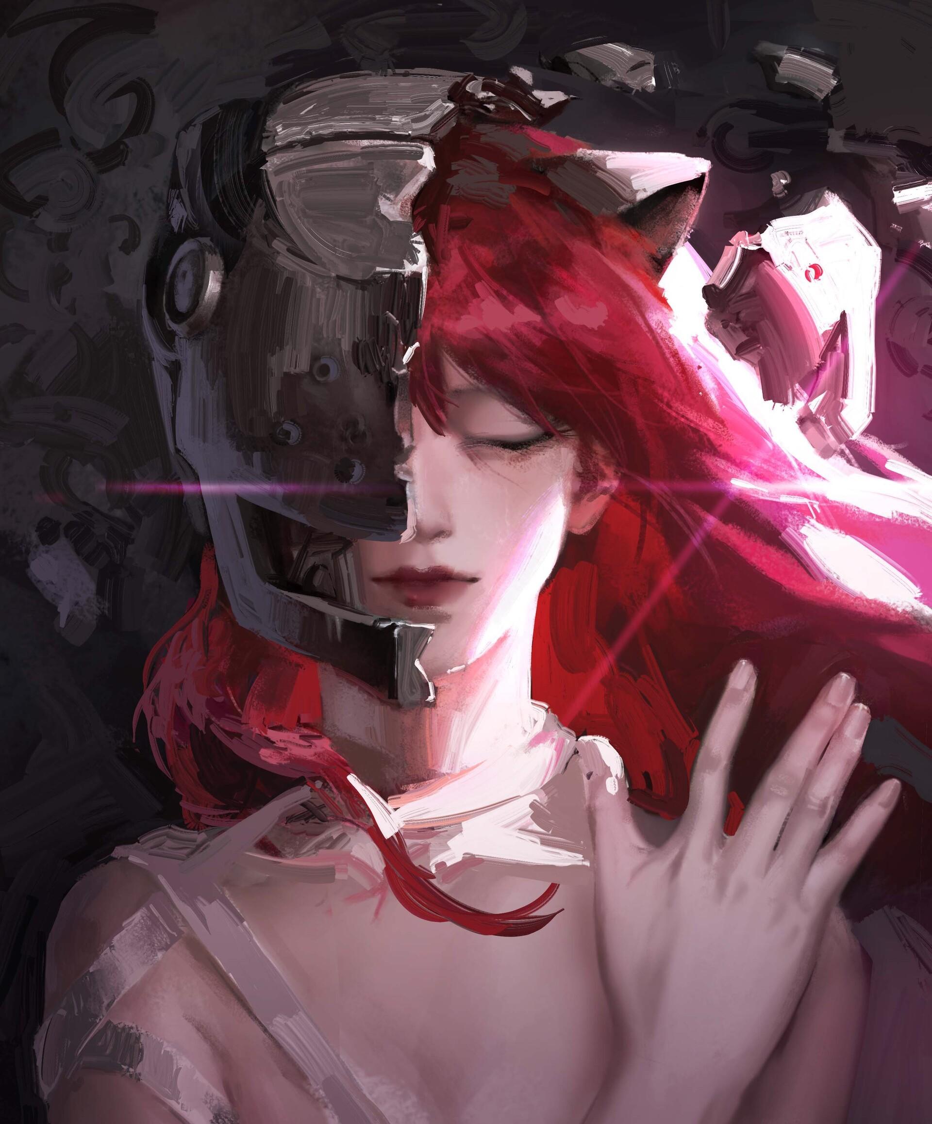 Anime 1920x2317 artwork digital art anime anime girls Elfen Lied Lucy (Elfen Lied) cat ears mask redhead long hair