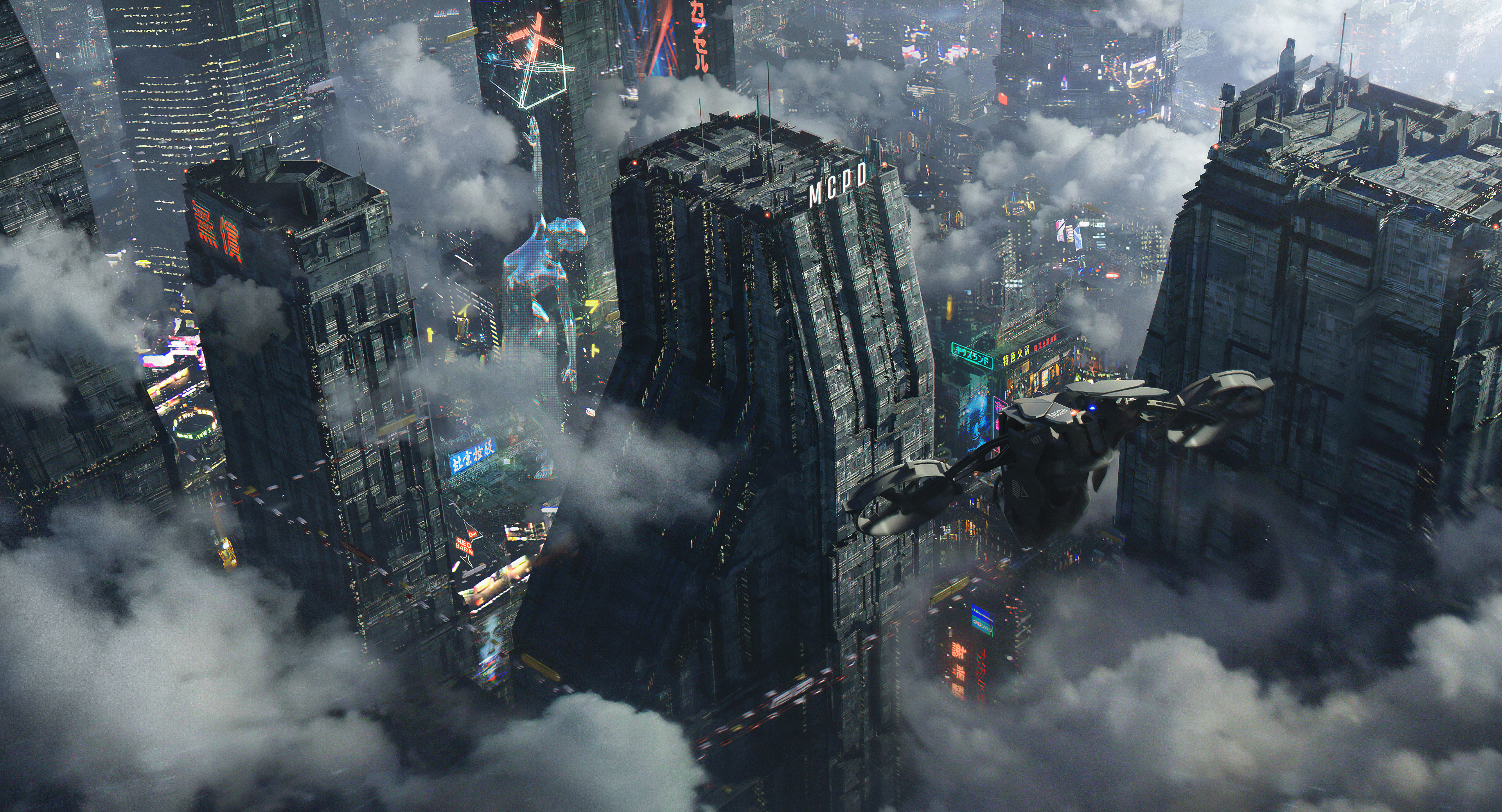 General 3840x2076 Nikita Pilyukshin futuristic city city clouds skyscraper aircraft