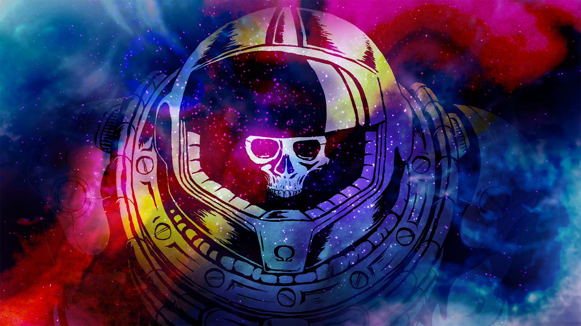 General 1884x1060 colorful Space Marine skull video game art armor digital art space