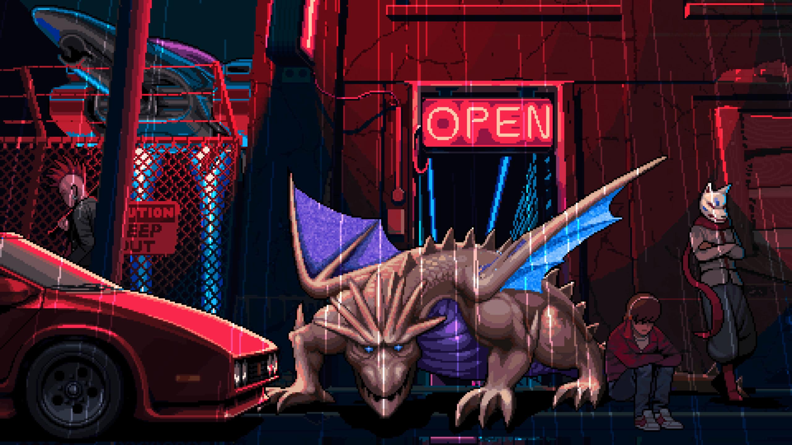 General 2560x1440 198x 1980s pixel art retro style Hi-Bit Studios video game art video games dragon car open