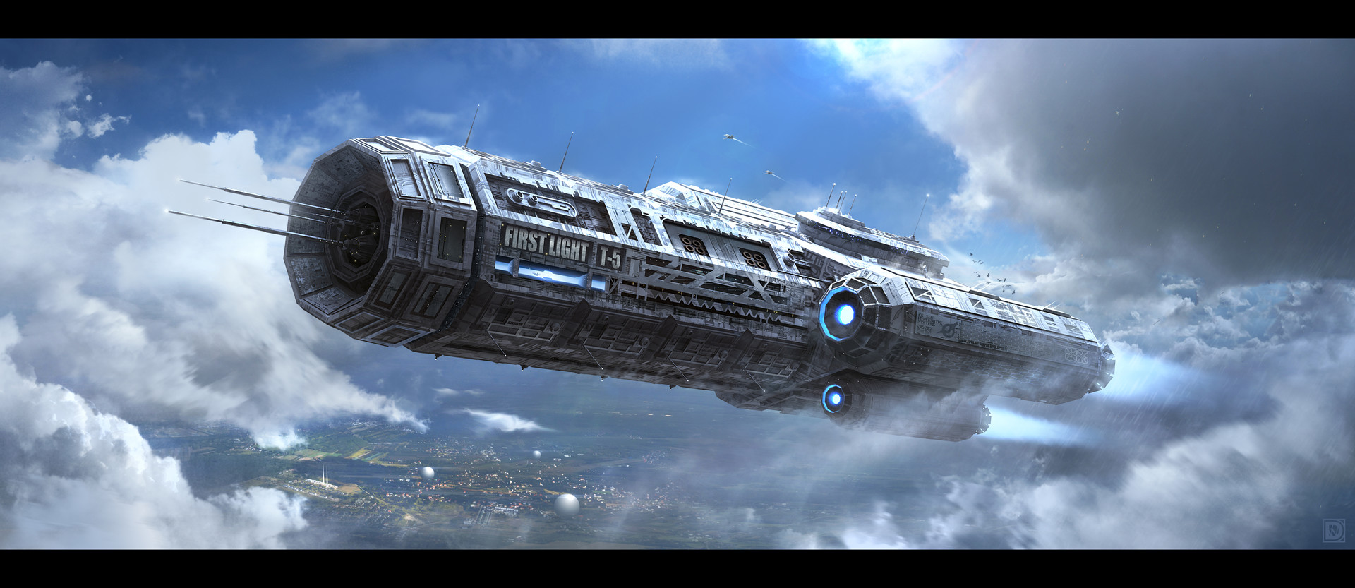 General 1920x833 spaceship science fiction sky clouds flying ship blue