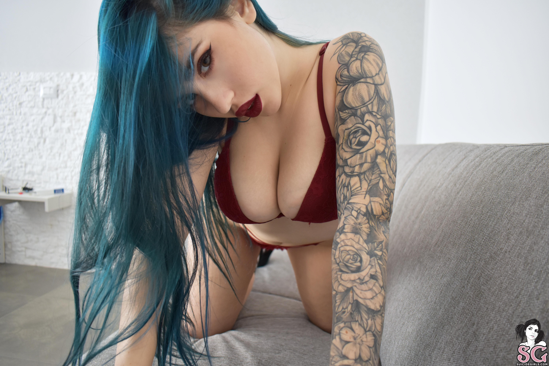 People 6000x4000 women model Suicide Girls Alteaaetla tattoo inked girls women indoors dyed hair blue hair cleavage looking at viewer