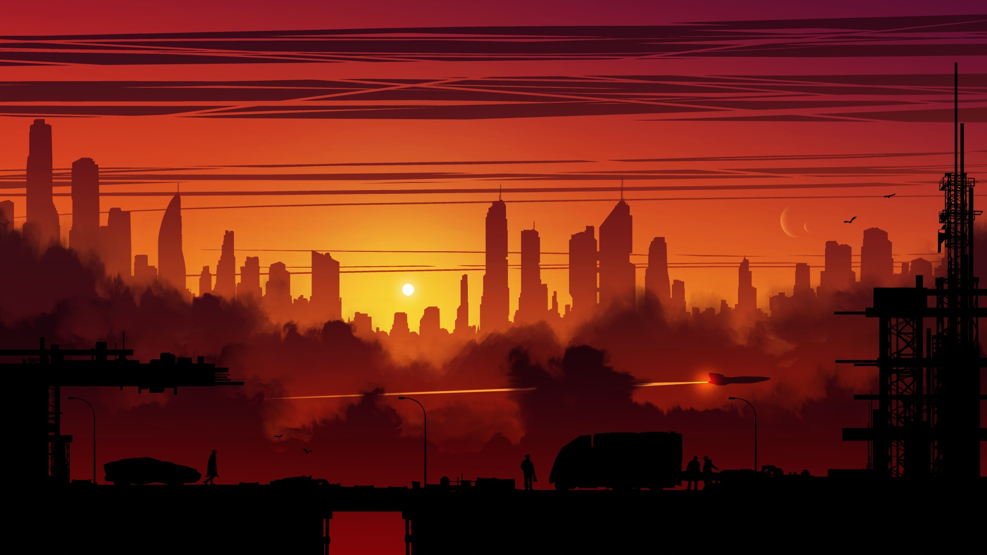 General 1920x1080 digital art city building sunset science fiction artwork illustration fantasy art Kvacm