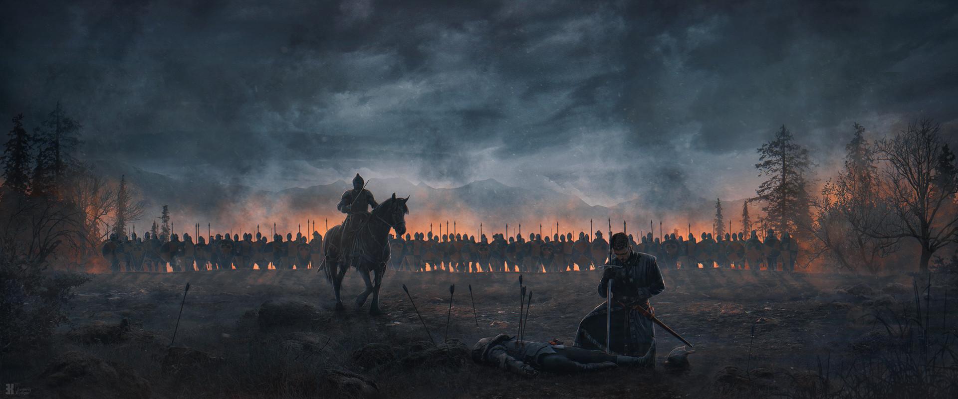General 1920x801 digital art knight soldier army warrior war horse arrows artwork sword Evgenij Kungur