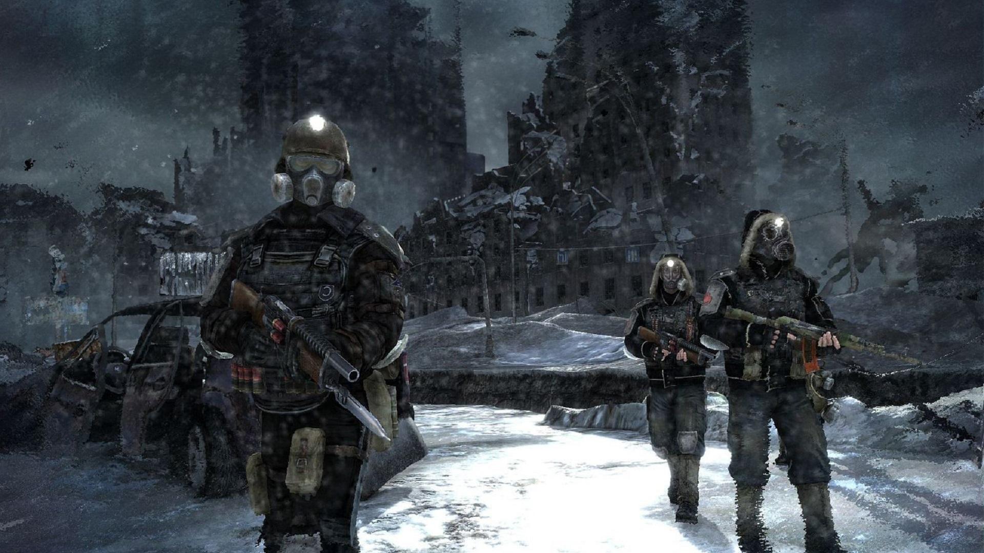 General 1920x1080 gas masks apocalyptic futuristic dark ruin weapon Metro 2033