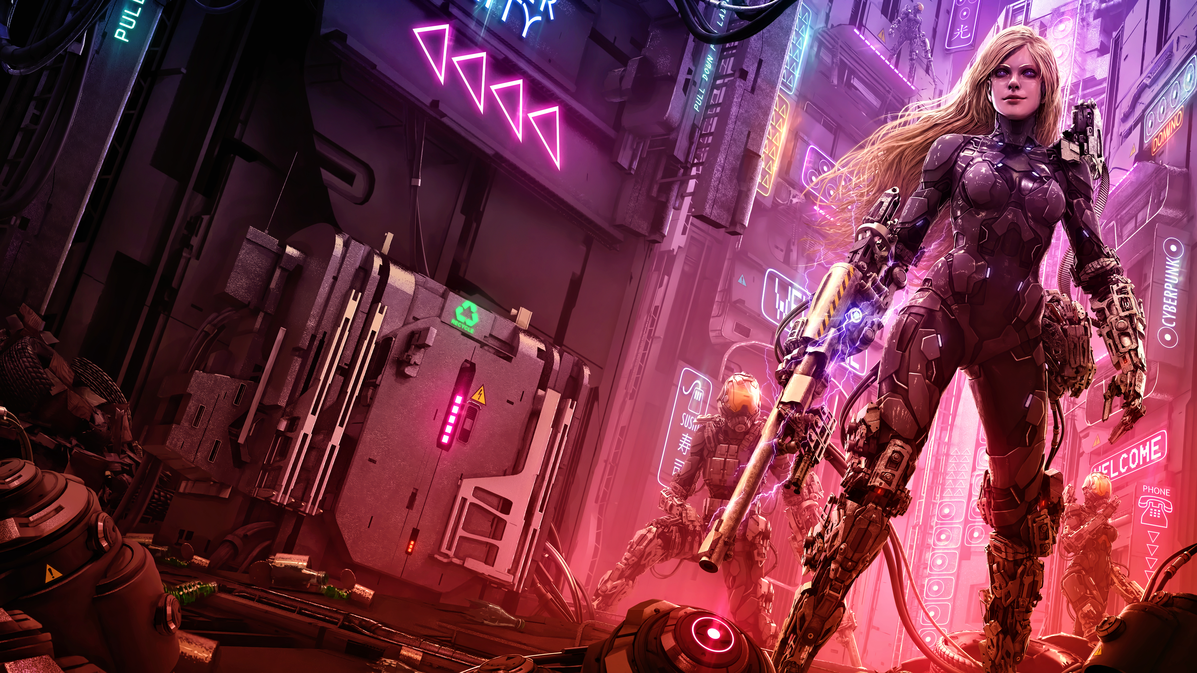 General 3840x2160 cyber science fiction digital art concept art cyberpunk artwork futuristic fantasy art fan art 3D PC gaming cityscape futuristic city CGI futuristic armor blonde neon weapon Tek Tan women
