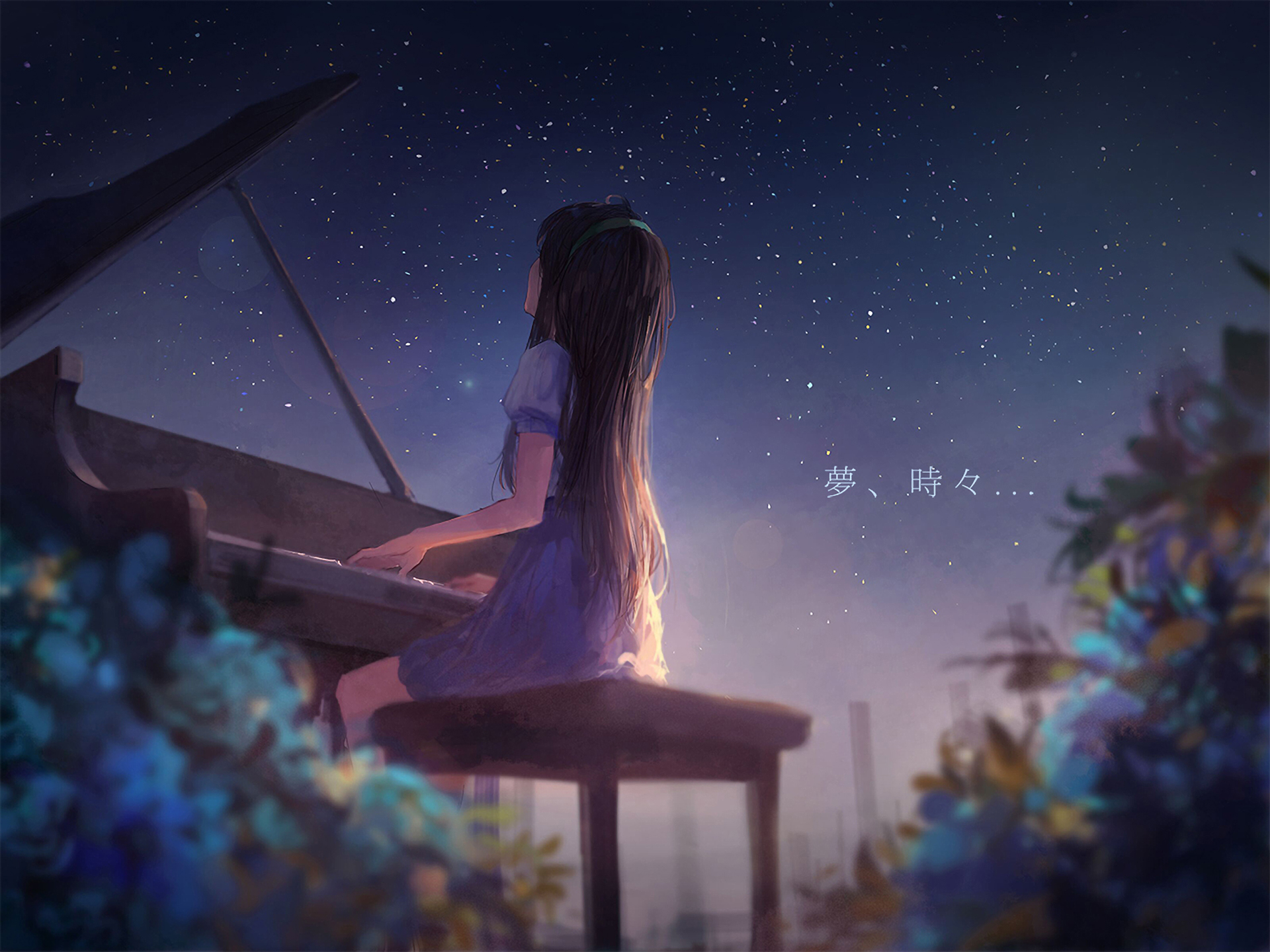 Anime 1920x1440 anime anime girls piano fantasy art digital night alone classical long hair painting drawing stars anime sky