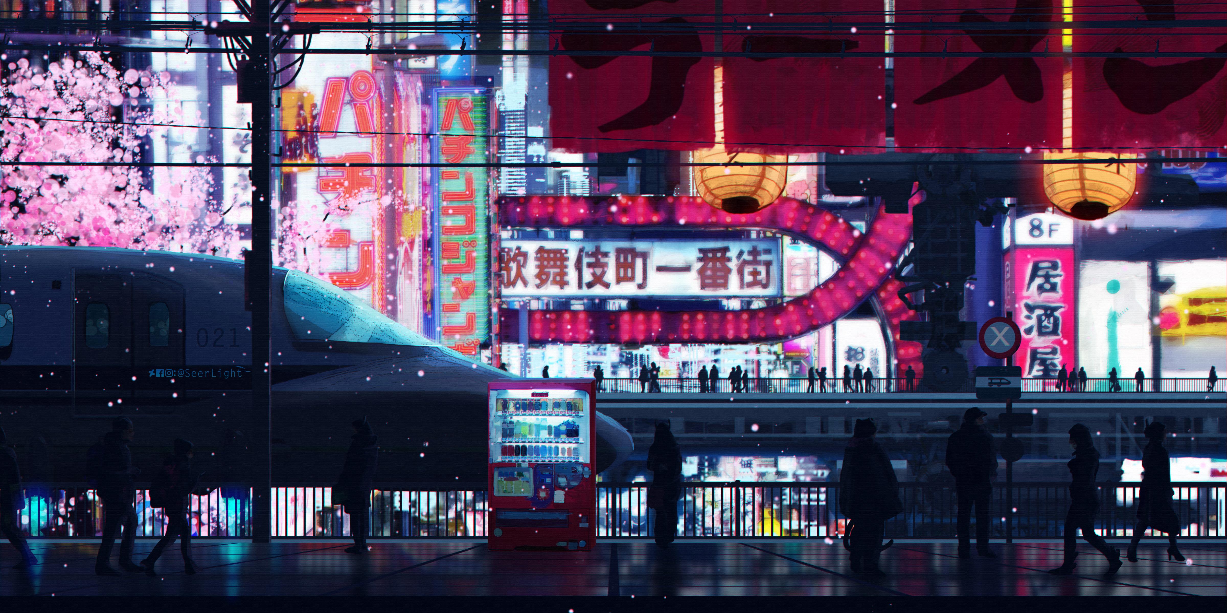 General 4800x2400 digital art artwork Japan city street cityscape vending machine cyberpunk Tokyo train