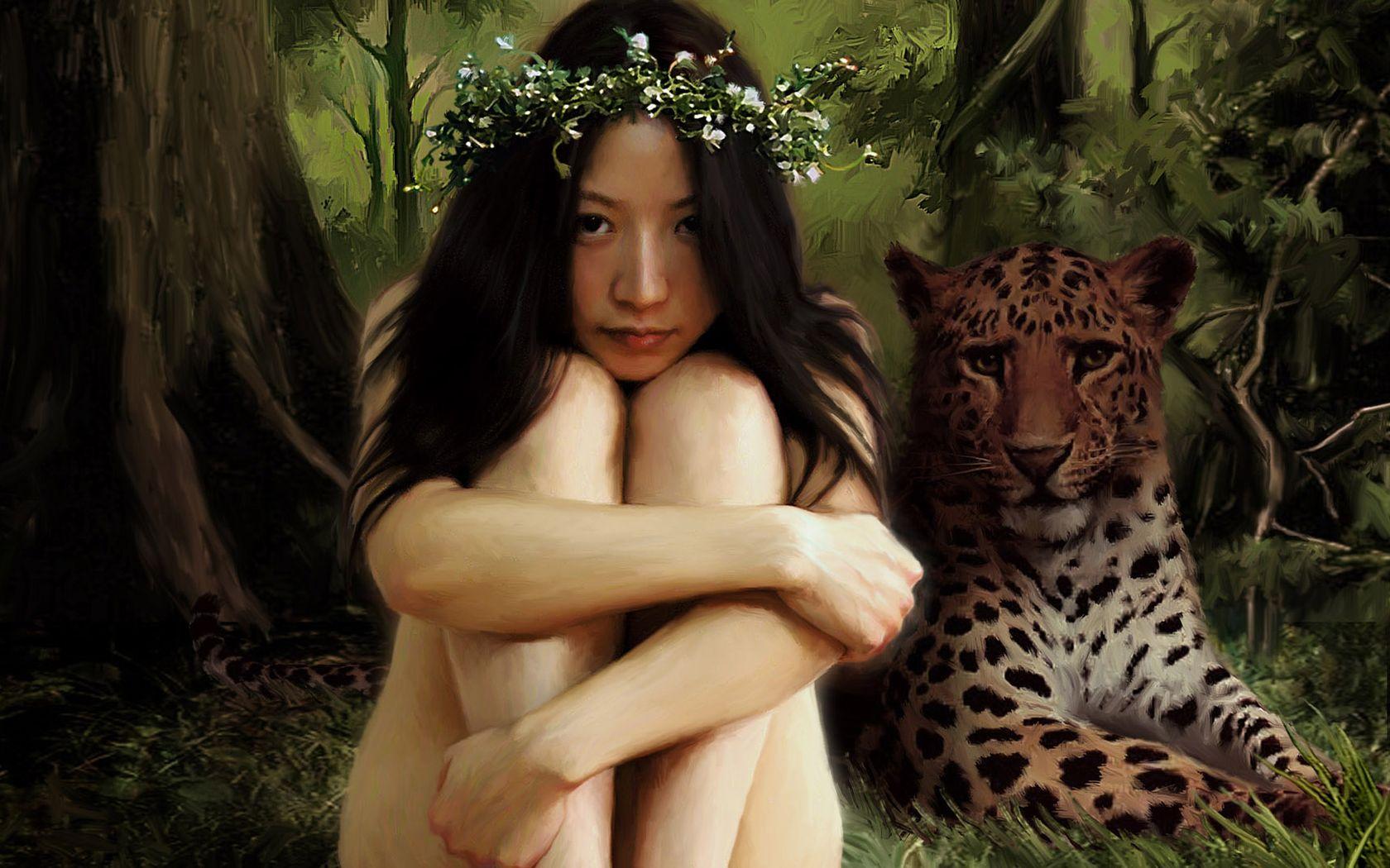 General 1680x1050 Asian leopard forest nature landscape illustration animals painting